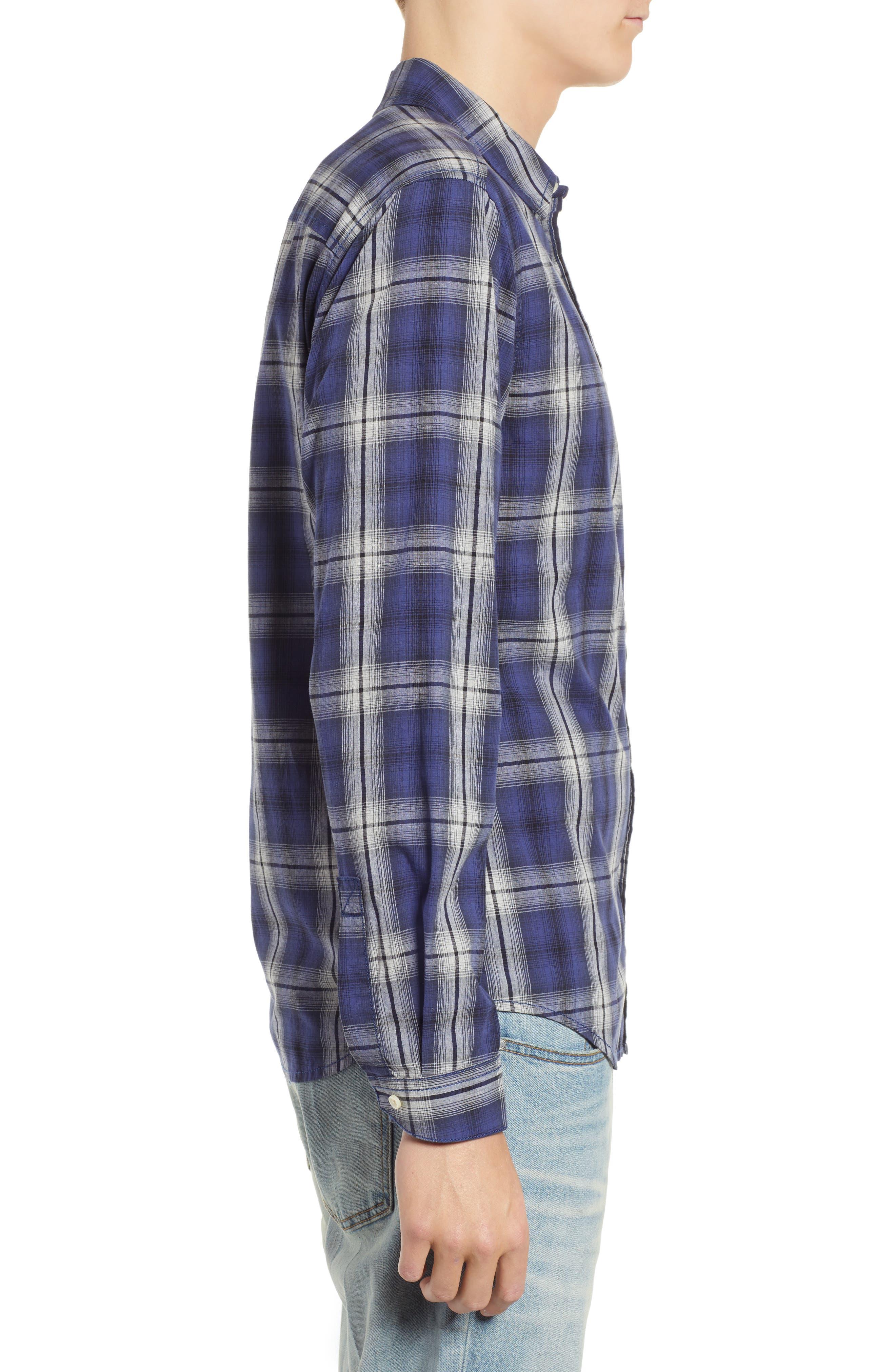 Fairmont Regular Fit Windowpane Sport Shirt,                             Alternate thumbnail 4, color,                             BLUE JAY
