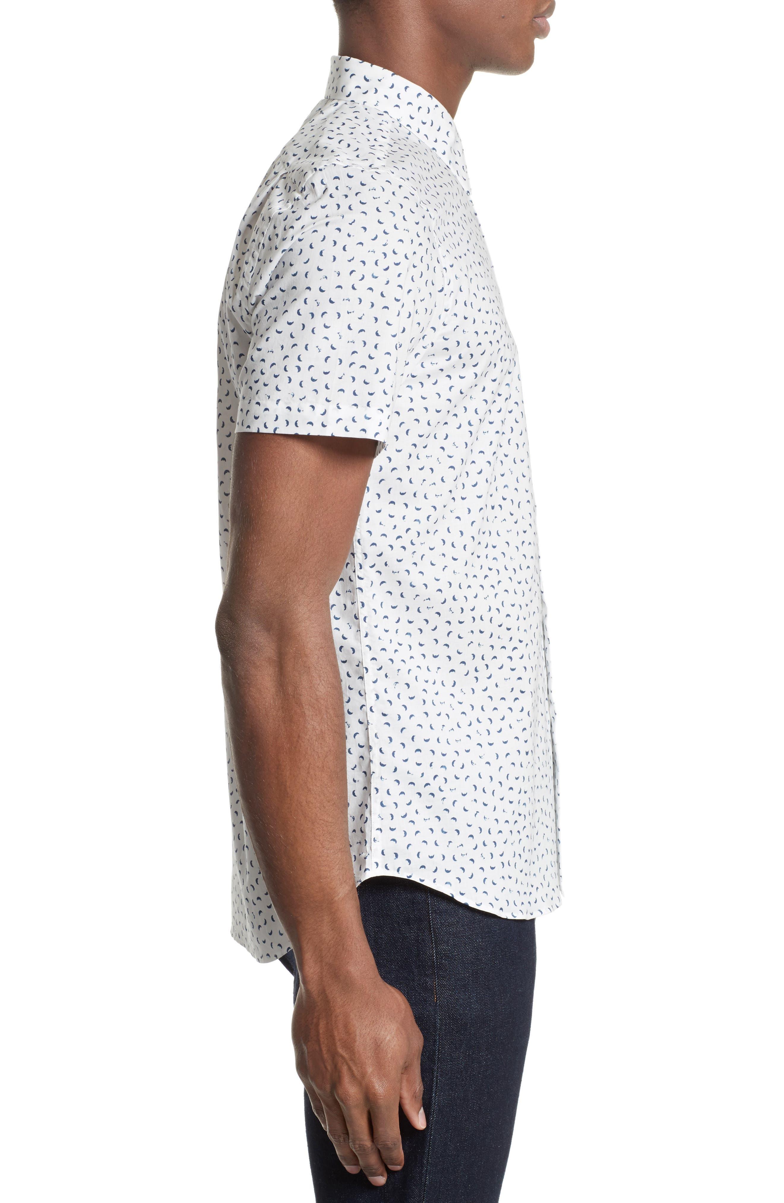 Extra Trim Fit Half Moon Print Sport Shirt,                             Alternate thumbnail 4, color,                             108