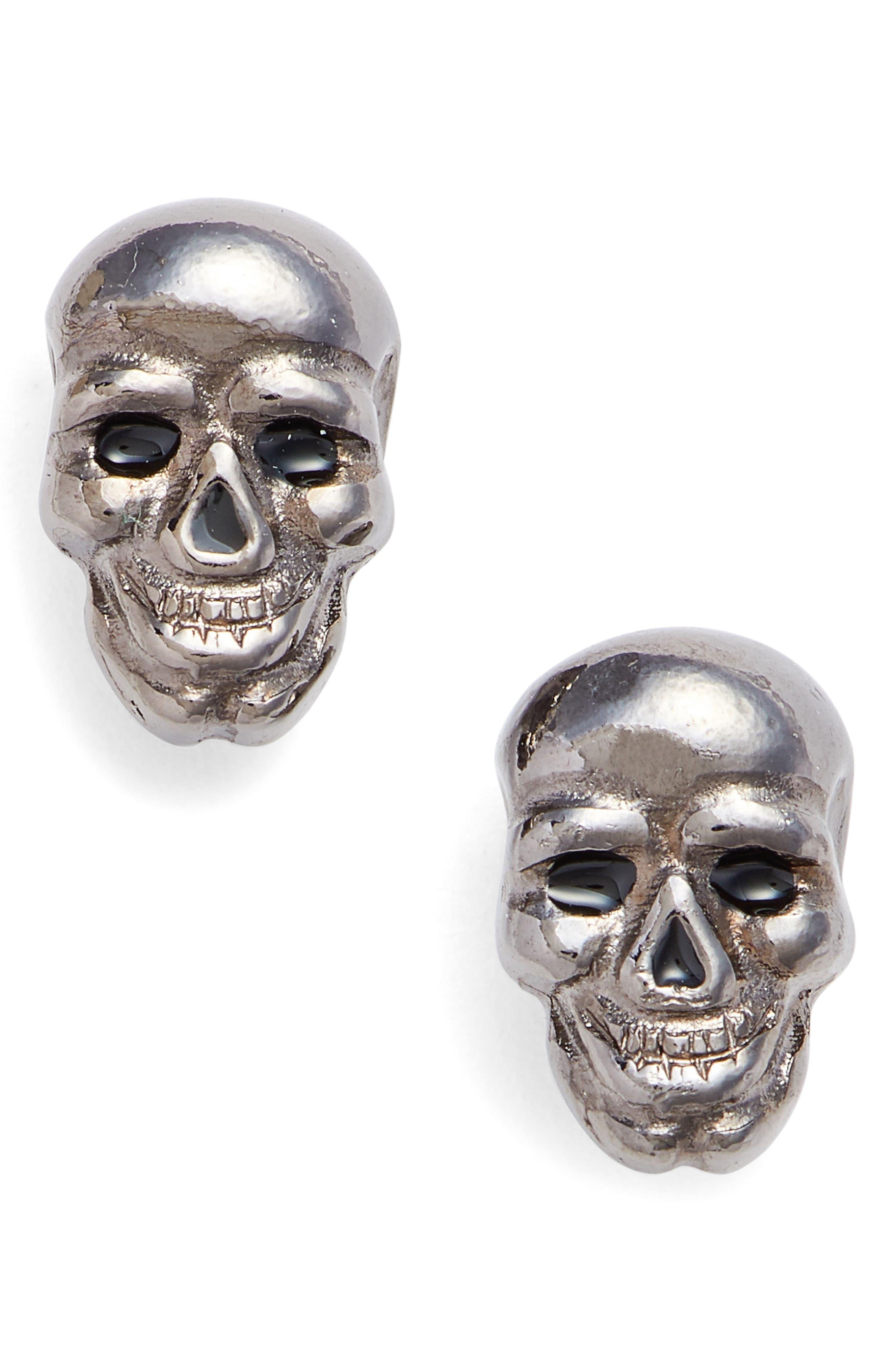 Skull Earrings,                         Main,                         color, HEMATITE