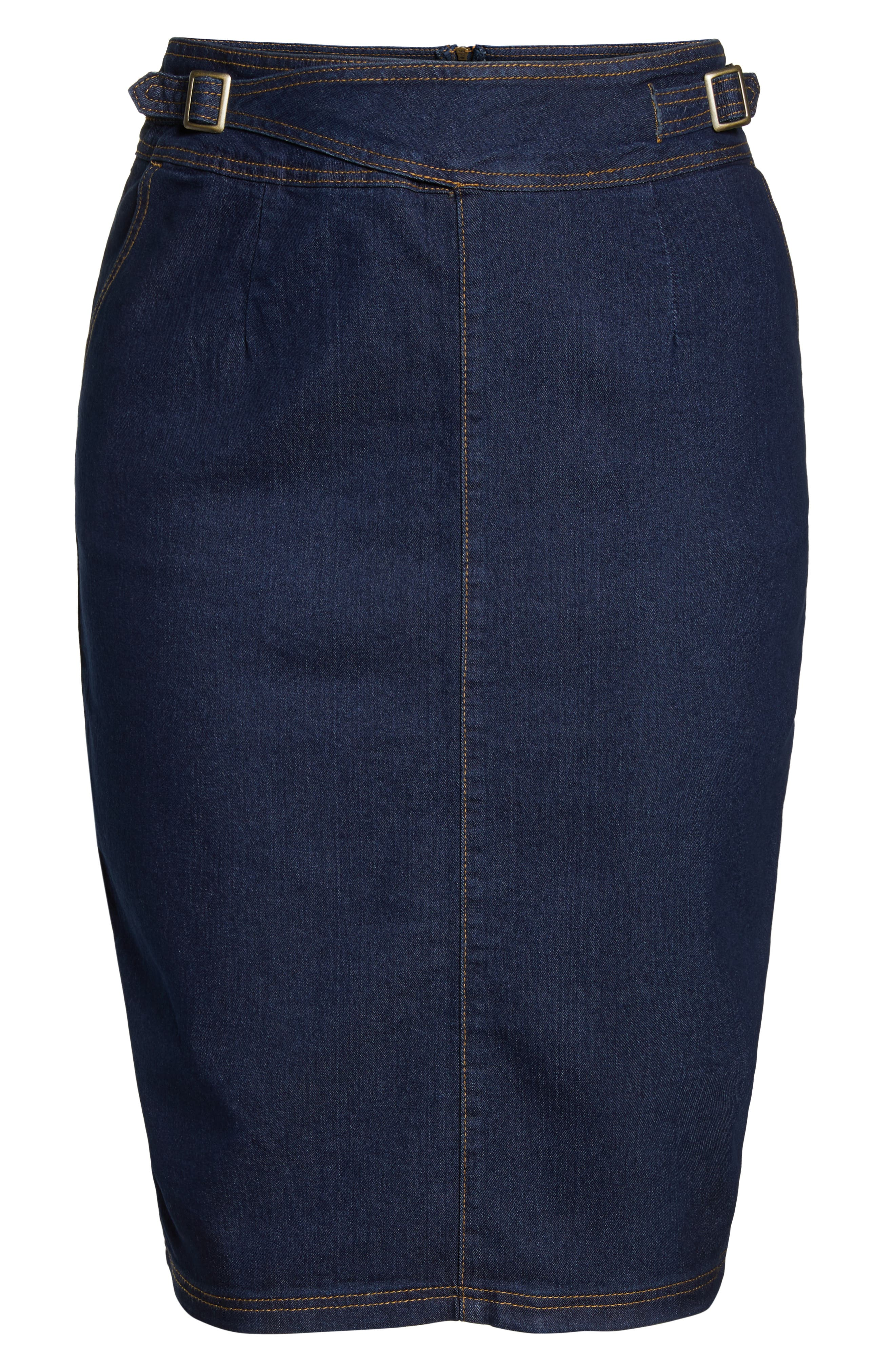 Denim Pencil Skirt,                             Alternate thumbnail 6, color,                             DARK DENIM