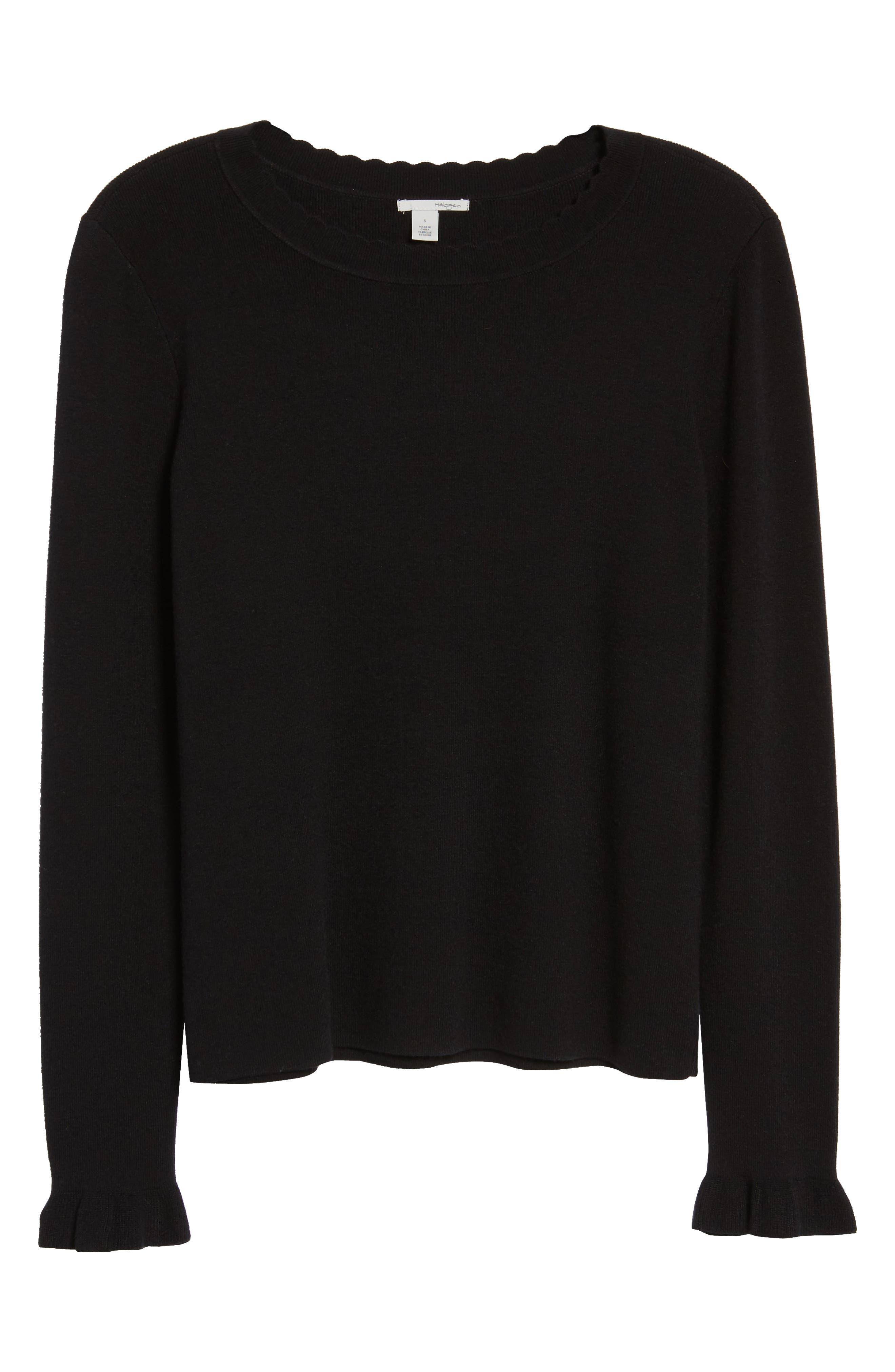 Scallop Trim Sweater,                             Alternate thumbnail 7, color,                             001