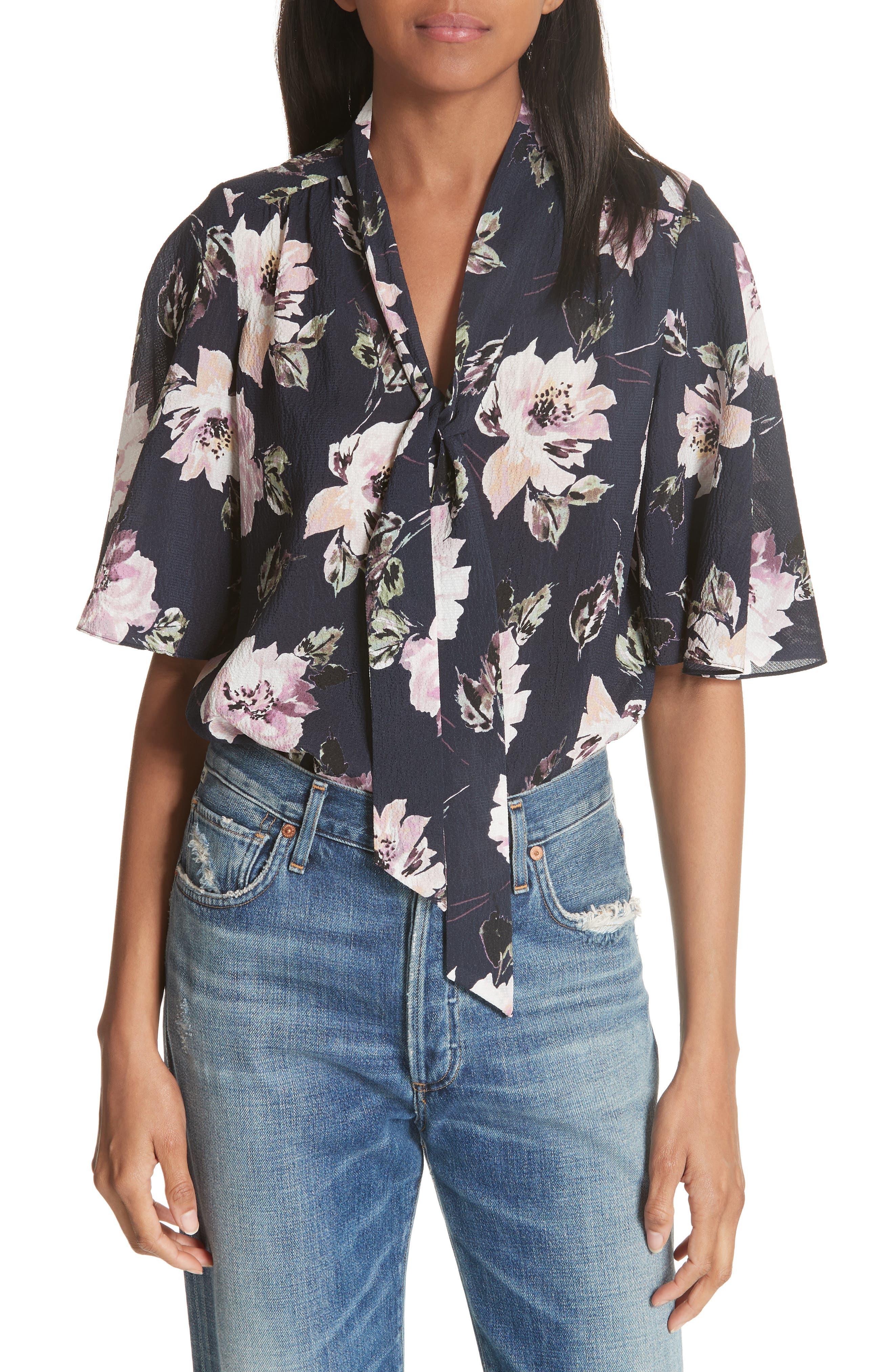 Magnolia Stretch Silk Tie Front Top,                         Main,                         color,