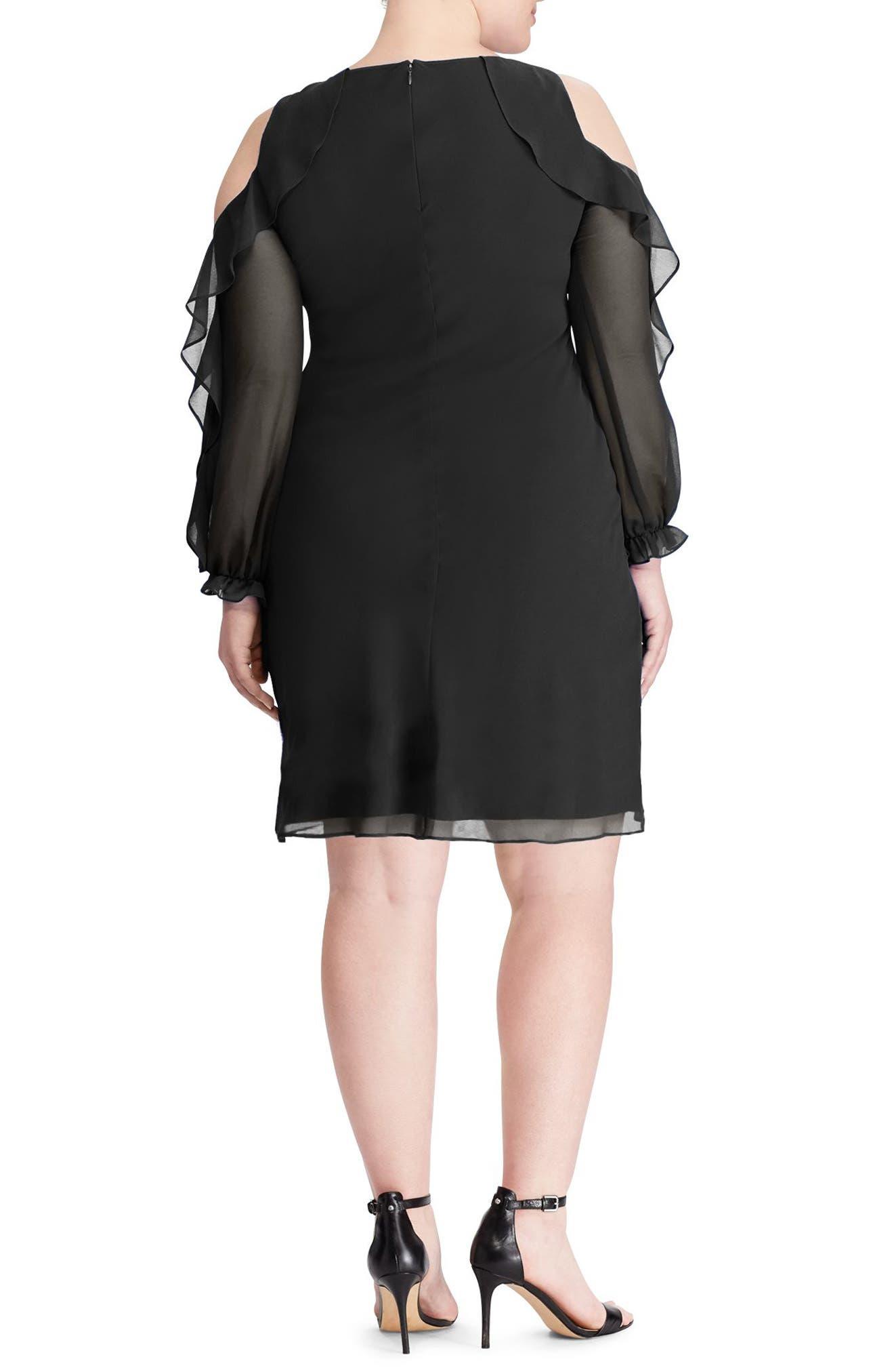 Paiva Ruffle Cold Shoulder Georgette Dress,                             Alternate thumbnail 2, color,