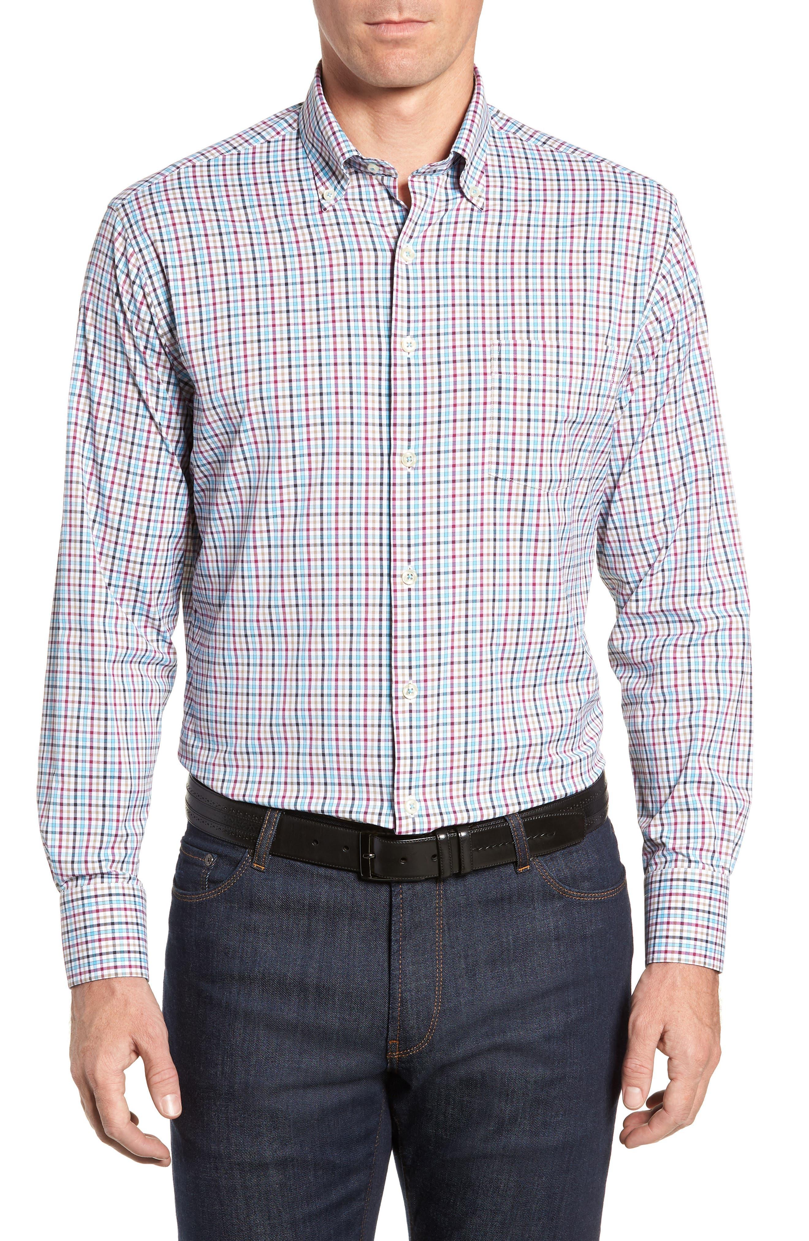 Lawson Regular Fit Tattersall Check Performance Sport Shirt,                             Main thumbnail 1, color,                             BLACK