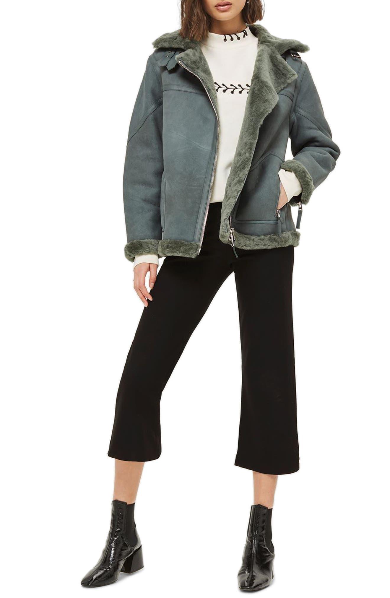 Bailey Genuine Shearling Biker Jacket,                         Main,                         color,