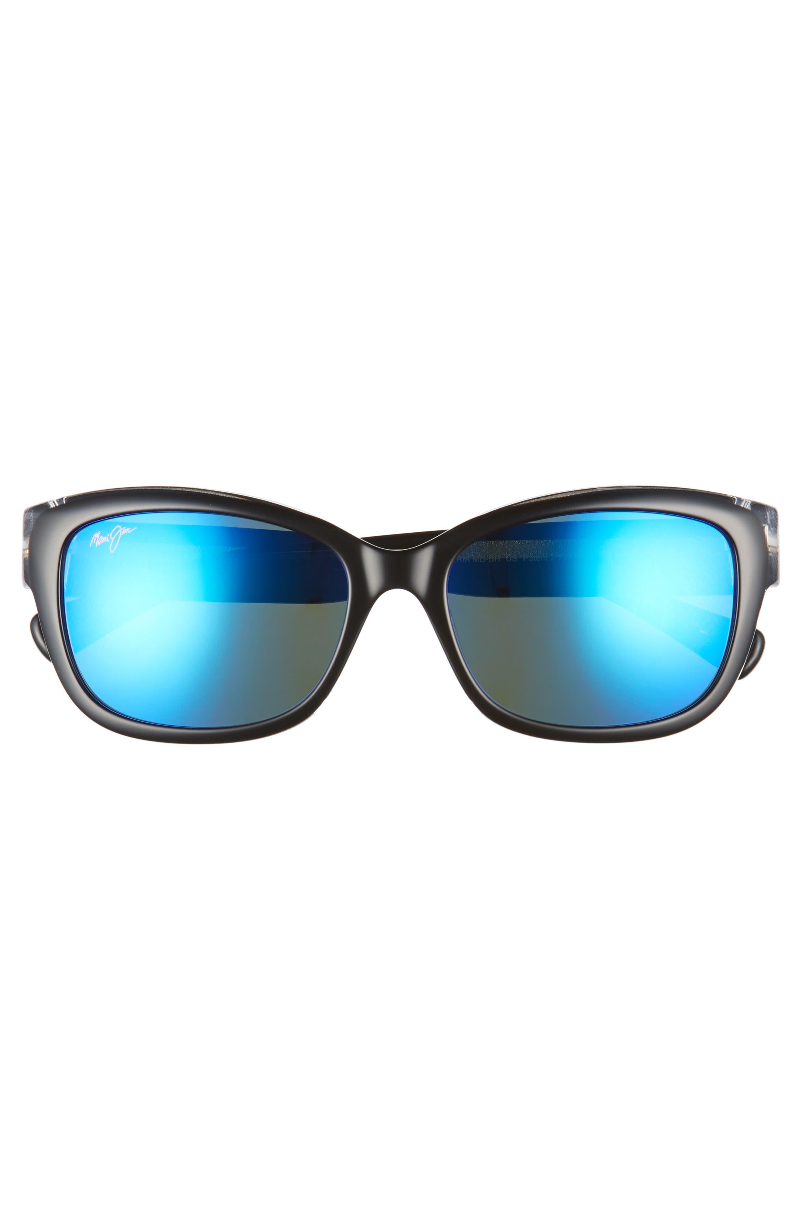 Plumeria 55mm Polarized Cat Eye Sunglasses,                             Alternate thumbnail 3, color,                             BLACK W CRYSTAL/ BLUE HAWAII