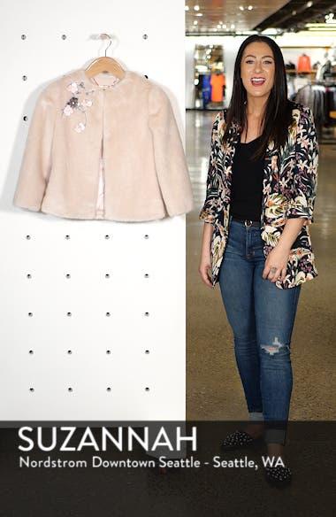 Appliqué Embellished Faux Fur Crop Jacket, sales video thumbnail