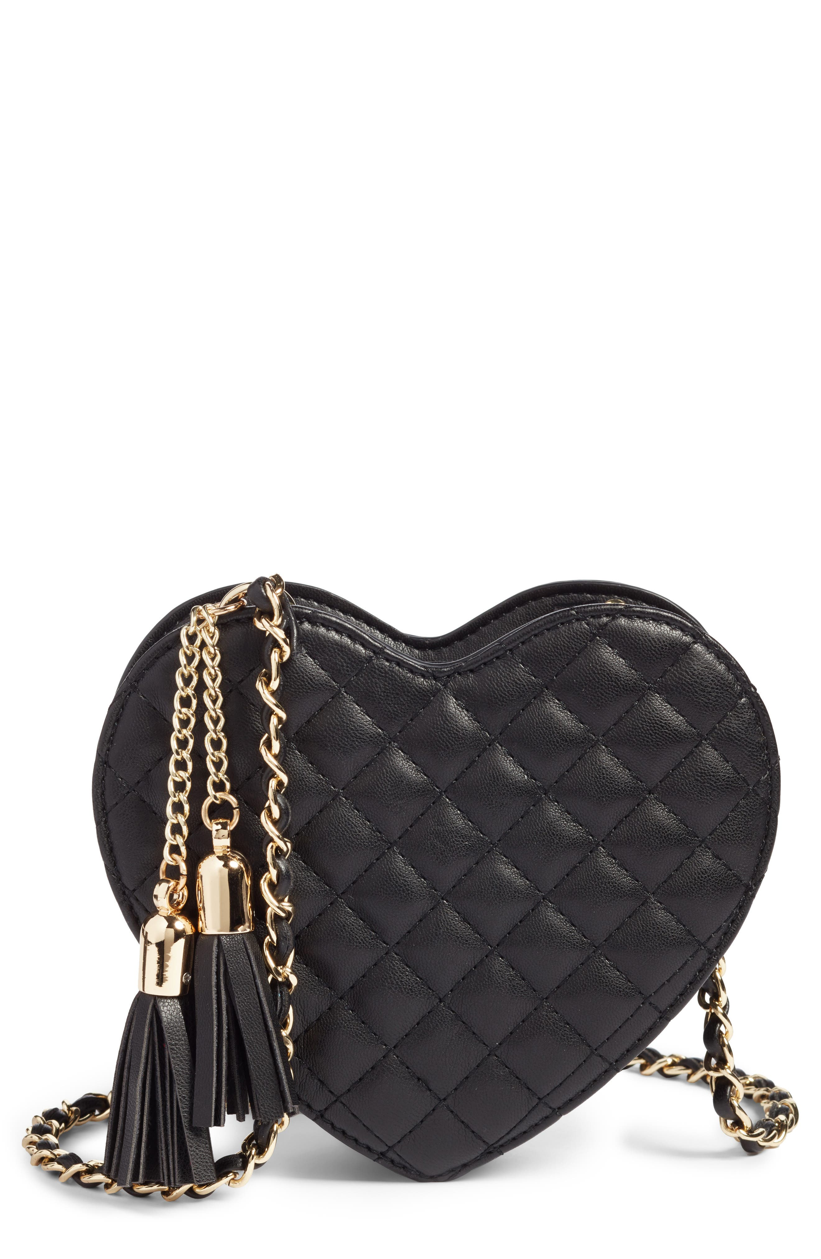 Mali + Lili Quilted Heart Vegan Leather Crossbody Bag,                         Main,                         color, BLACK