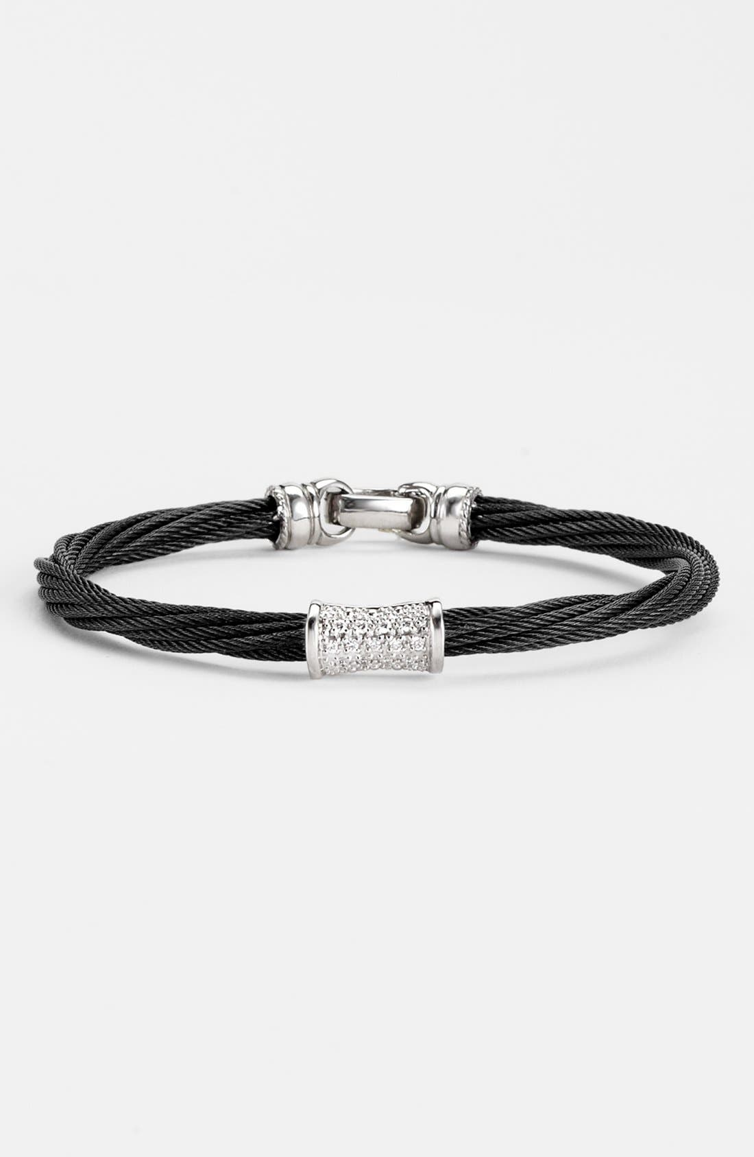 'Mixed Modern' Diamond Station Cable Bracelet,                             Main thumbnail 1, color,                             001