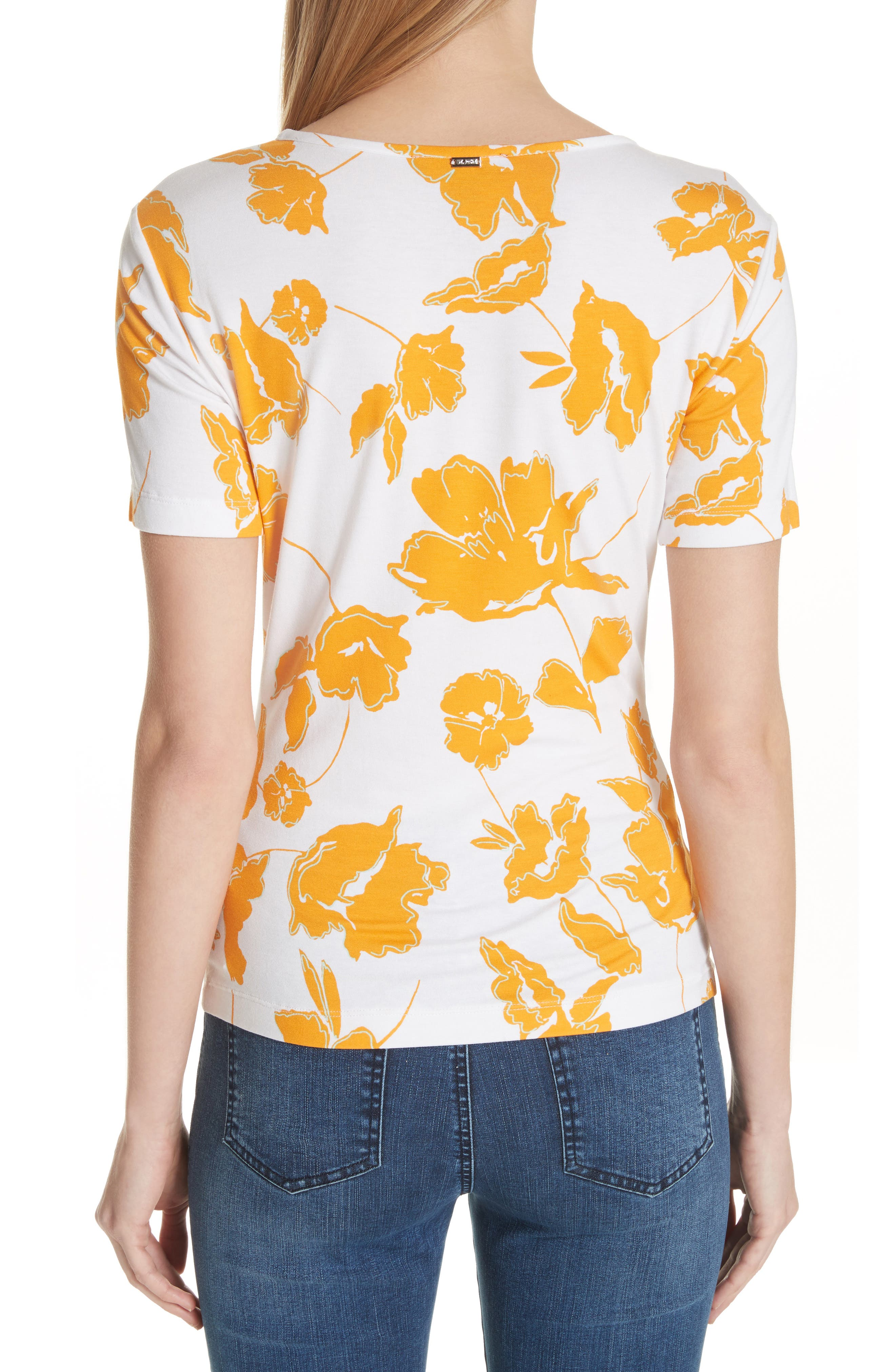 Painted Floral Jersey Tee,                             Alternate thumbnail 2, color,                             MANGO MULTI
