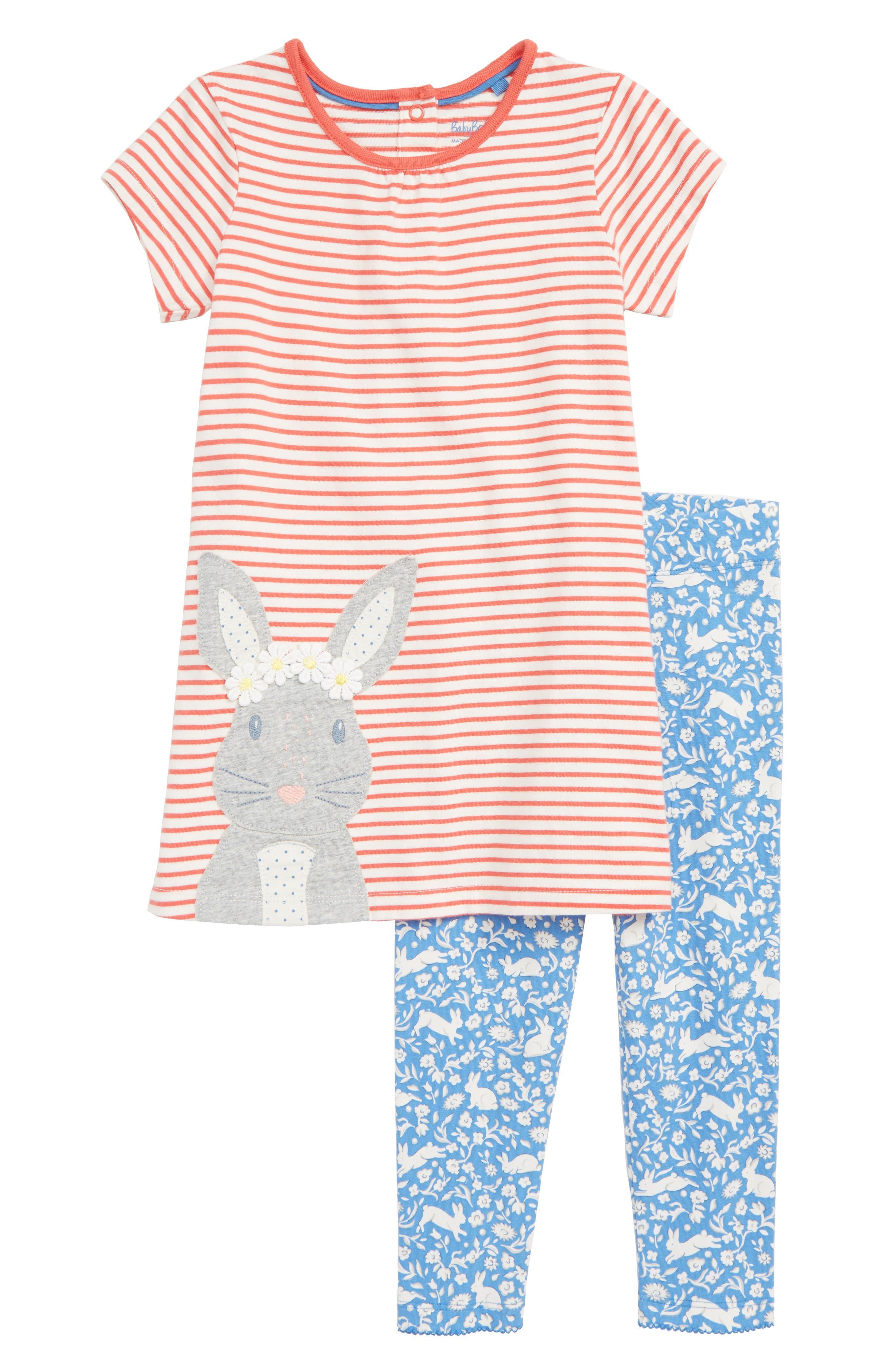 Toddler Girls Mini Boden Farmyard Dress  Leggings Set