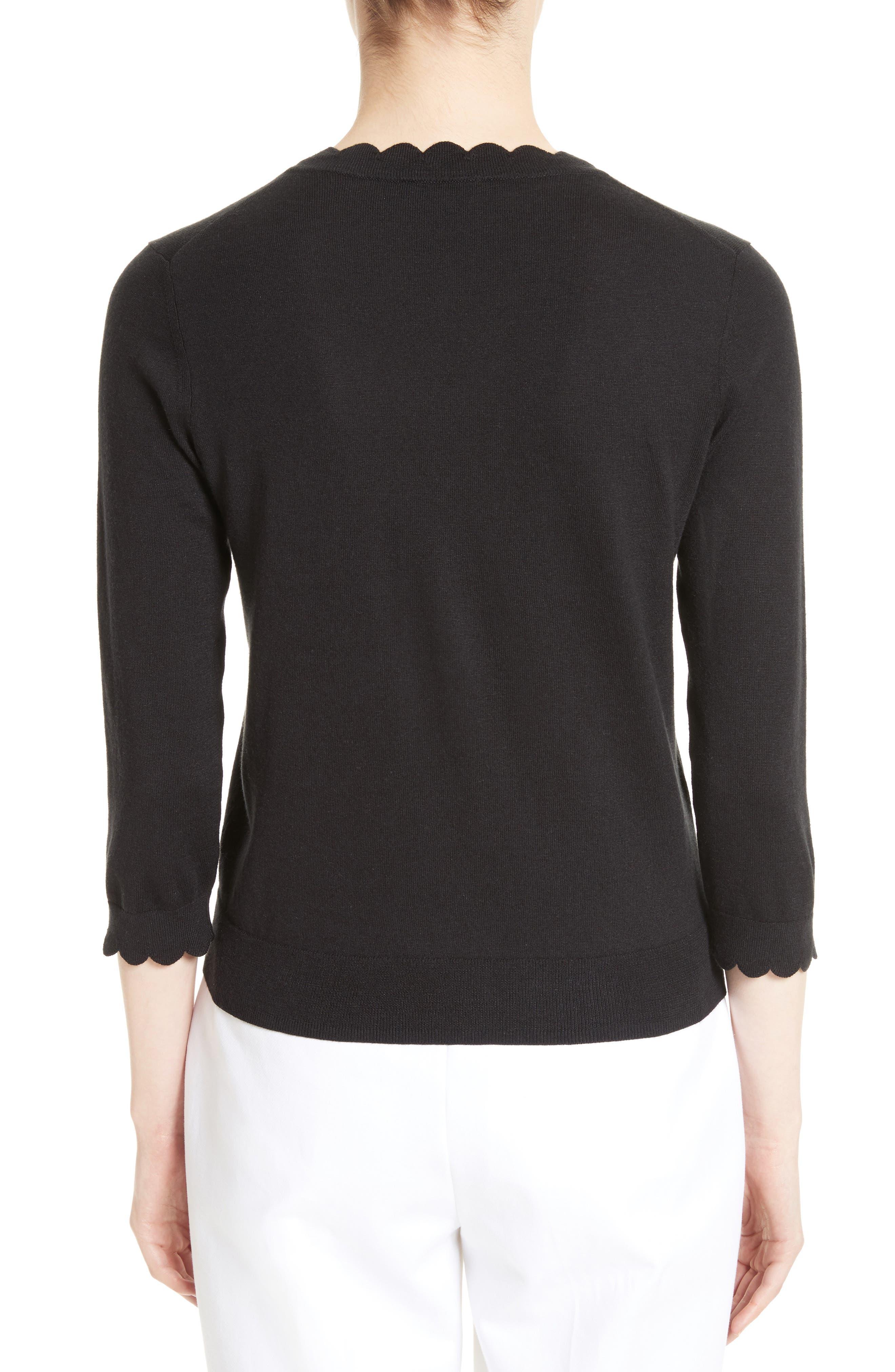scallop silk blend cardigan,                             Alternate thumbnail 2, color,                             BLACK