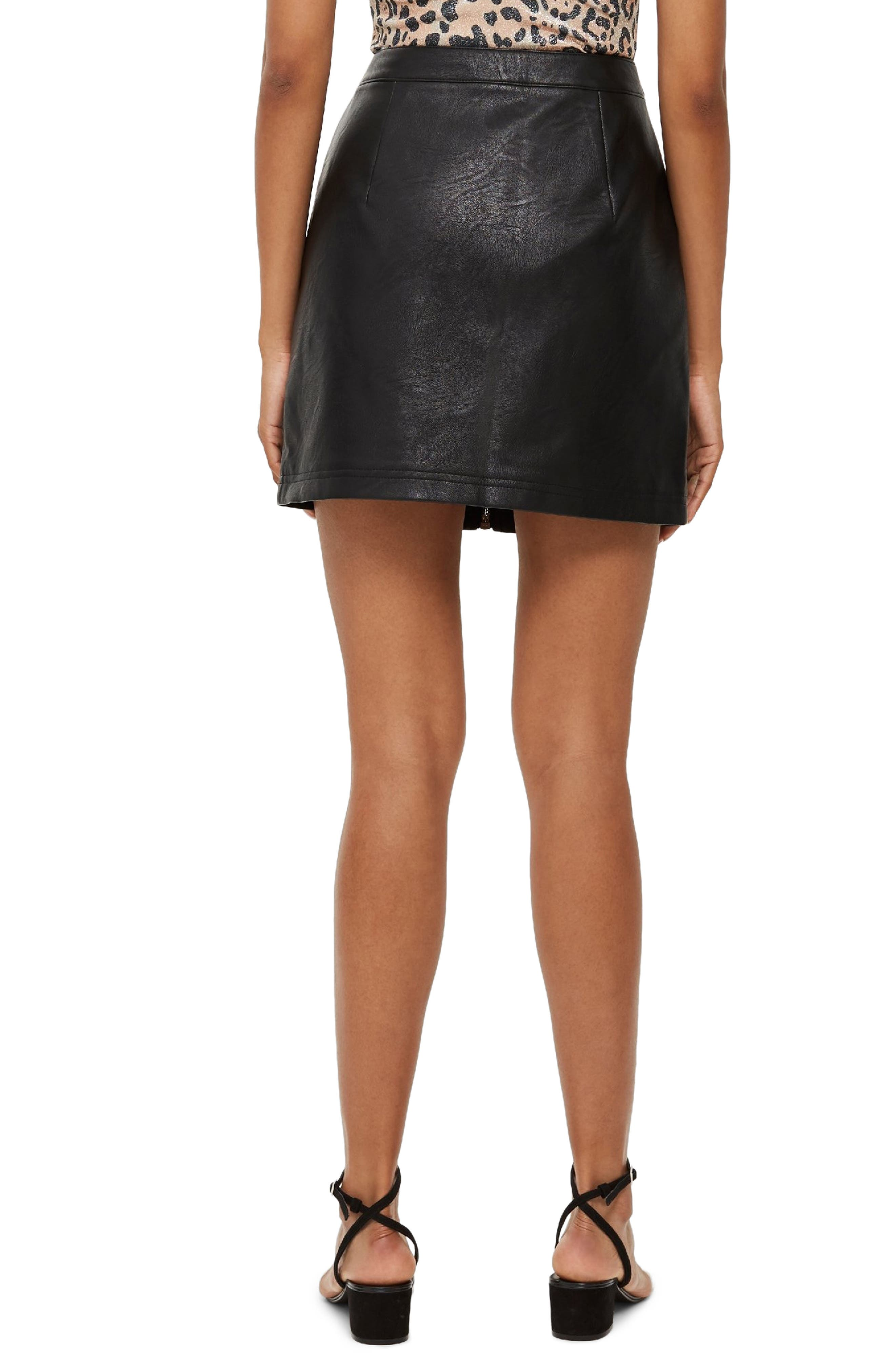 Penelope Faux Leather Miniskirt,                             Alternate thumbnail 2, color,                             BLACK