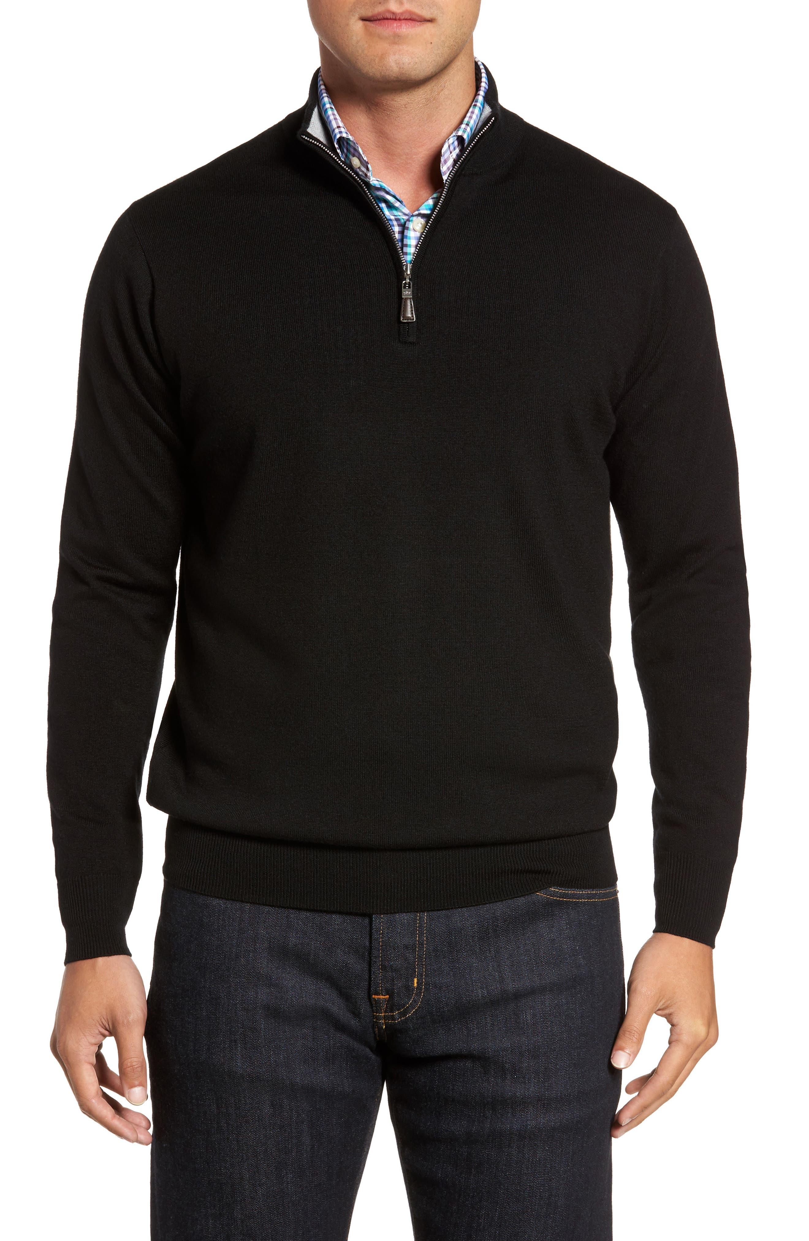 Crown Soft Merino Blend Quarter Zip Sweater,                         Main,                         color, 001