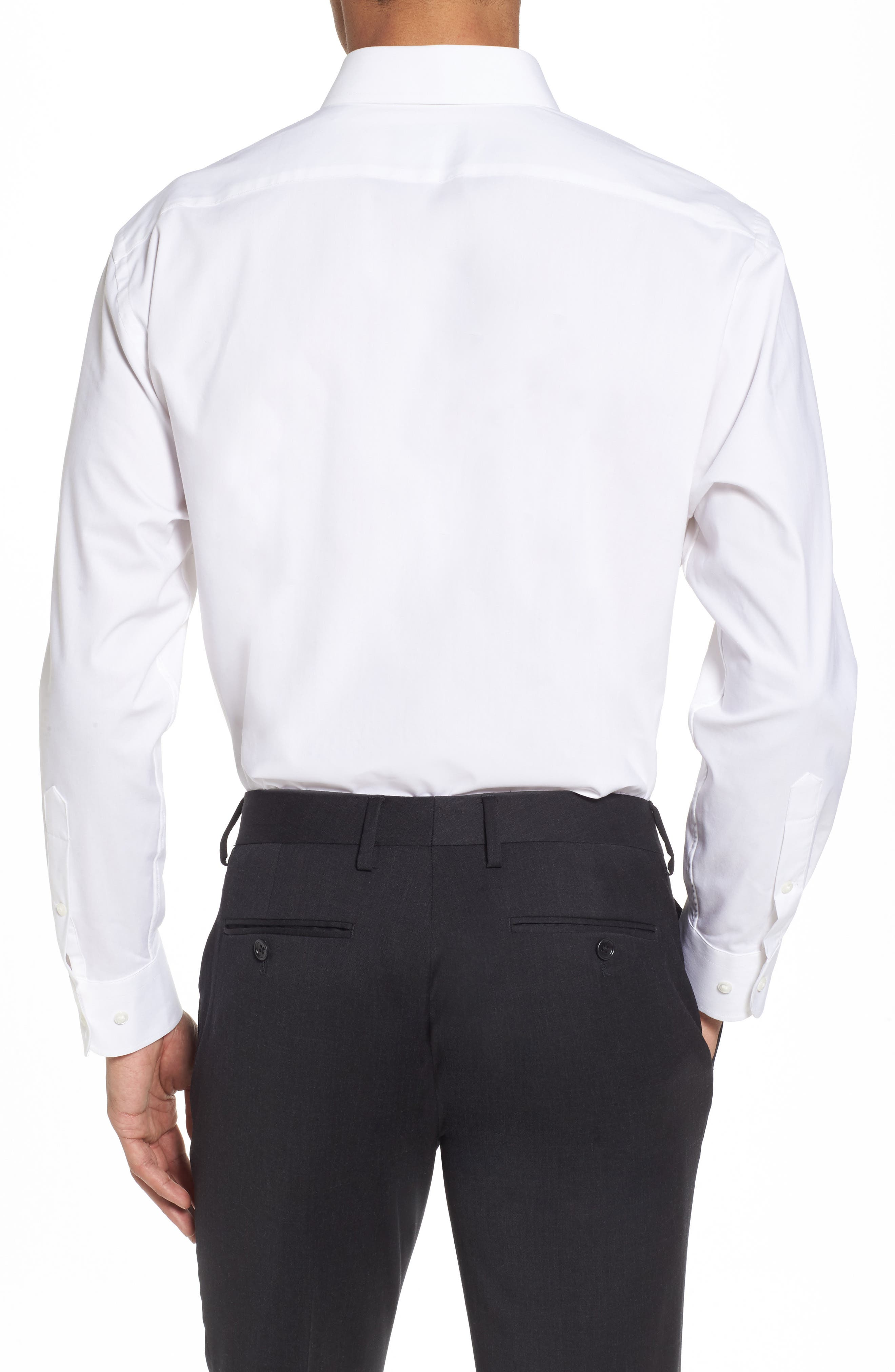 Tech-Smart Traditional Fit Stretch Pintpoint Dress Shirt,                             Alternate thumbnail 2, color,                             WHITE