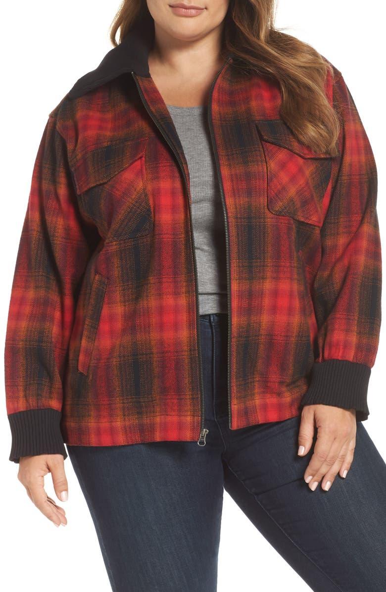 3b07159ae4377 BP. Plaid Barn Jacket (Plus Size)