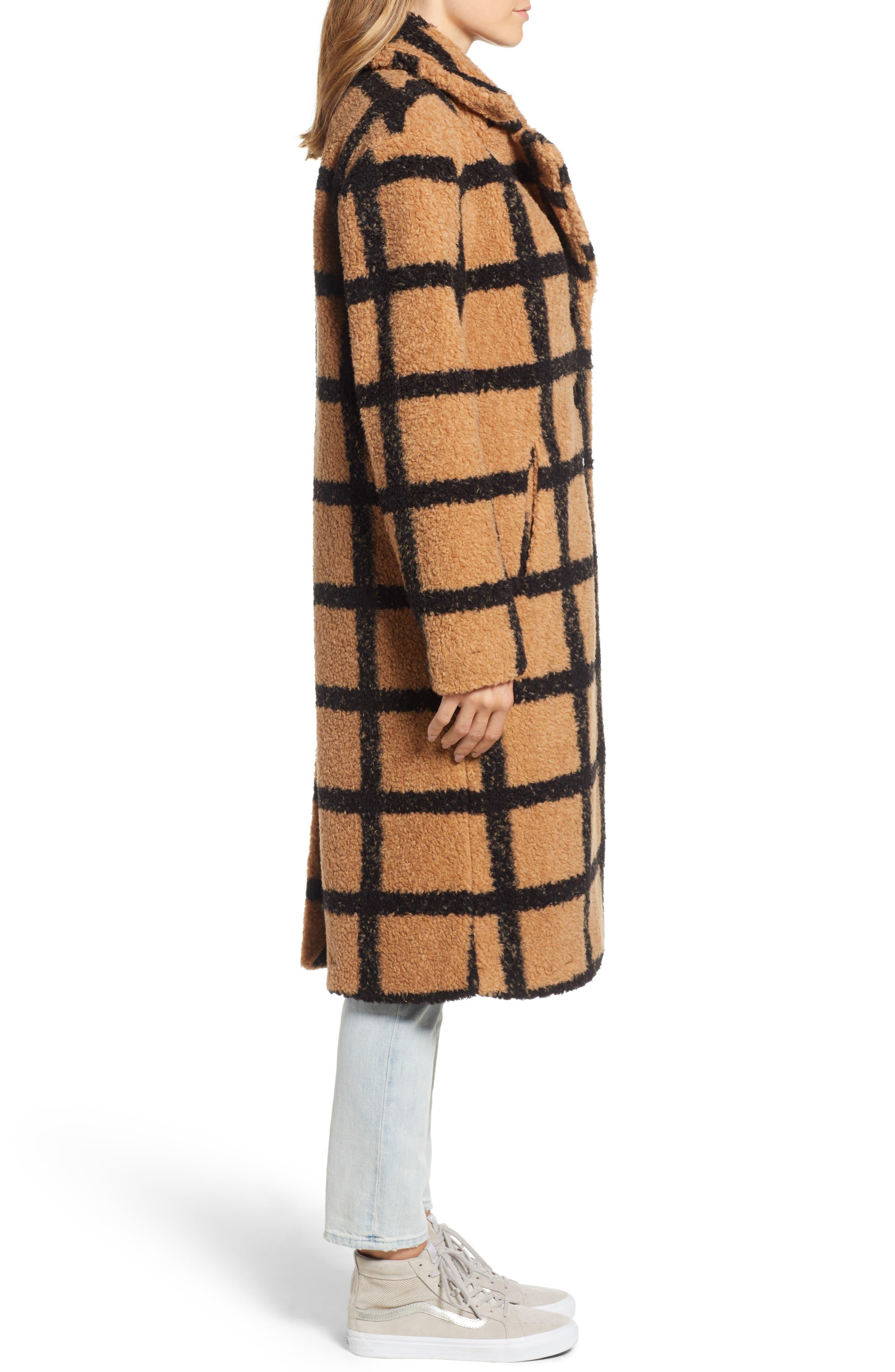Berber Longline Plaid Coat,                             Alternate thumbnail 3, color,                             230