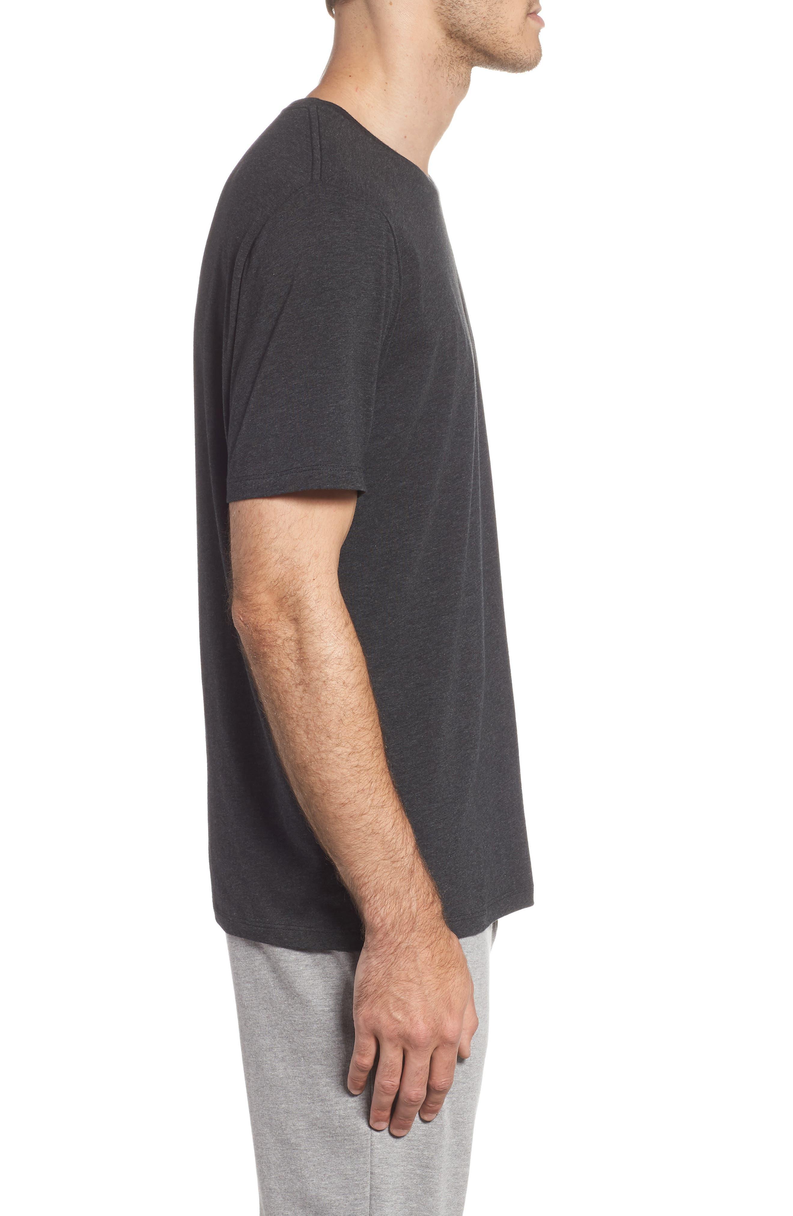 Cotton Blend Crewneck T-Shirt,                             Alternate thumbnail 3, color,                             HEATHER CHARCOAL