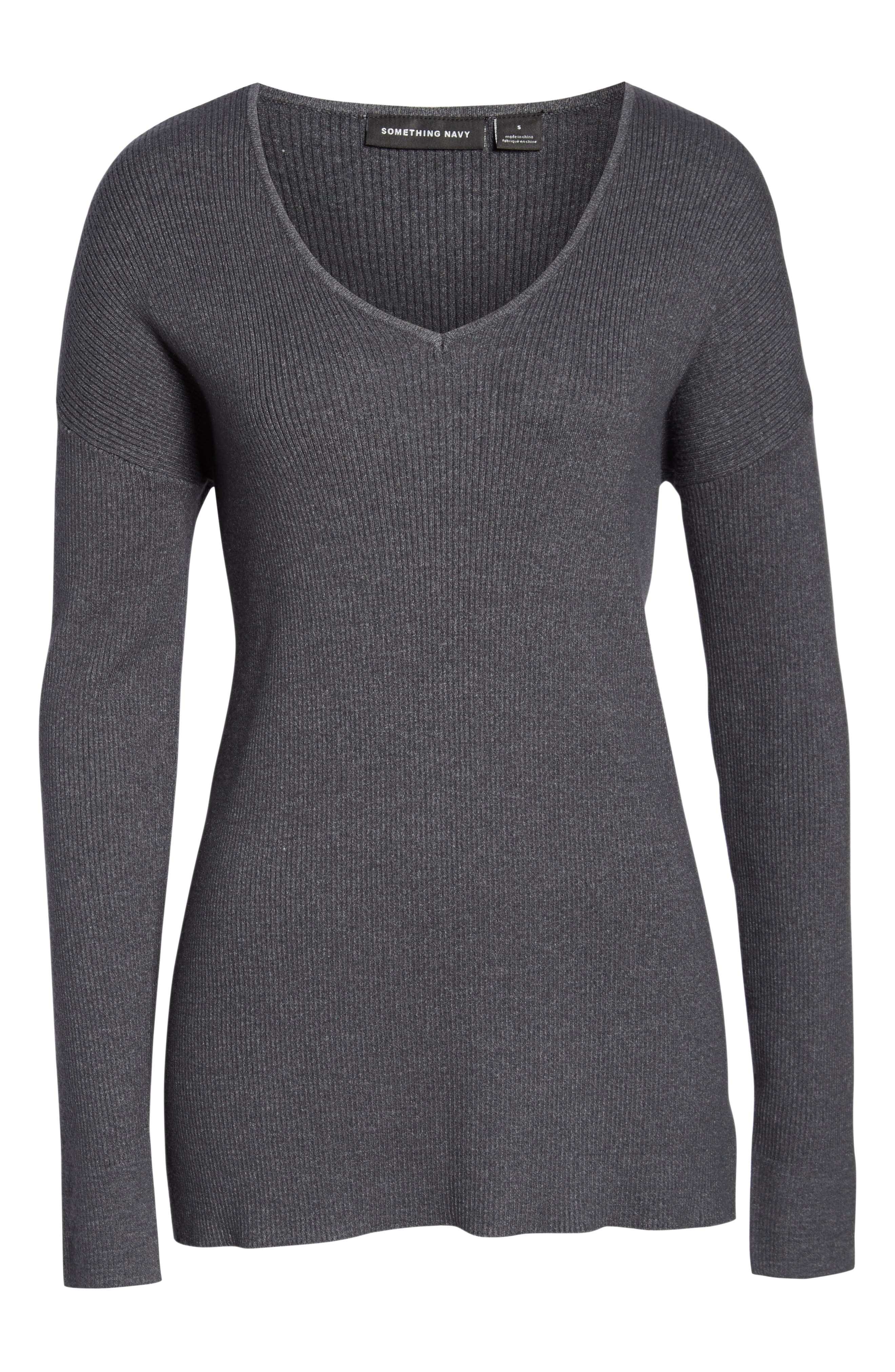 Rib Knit Pullover,                             Alternate thumbnail 6, color,                             GREY MED CHARCOAL HEATHER
