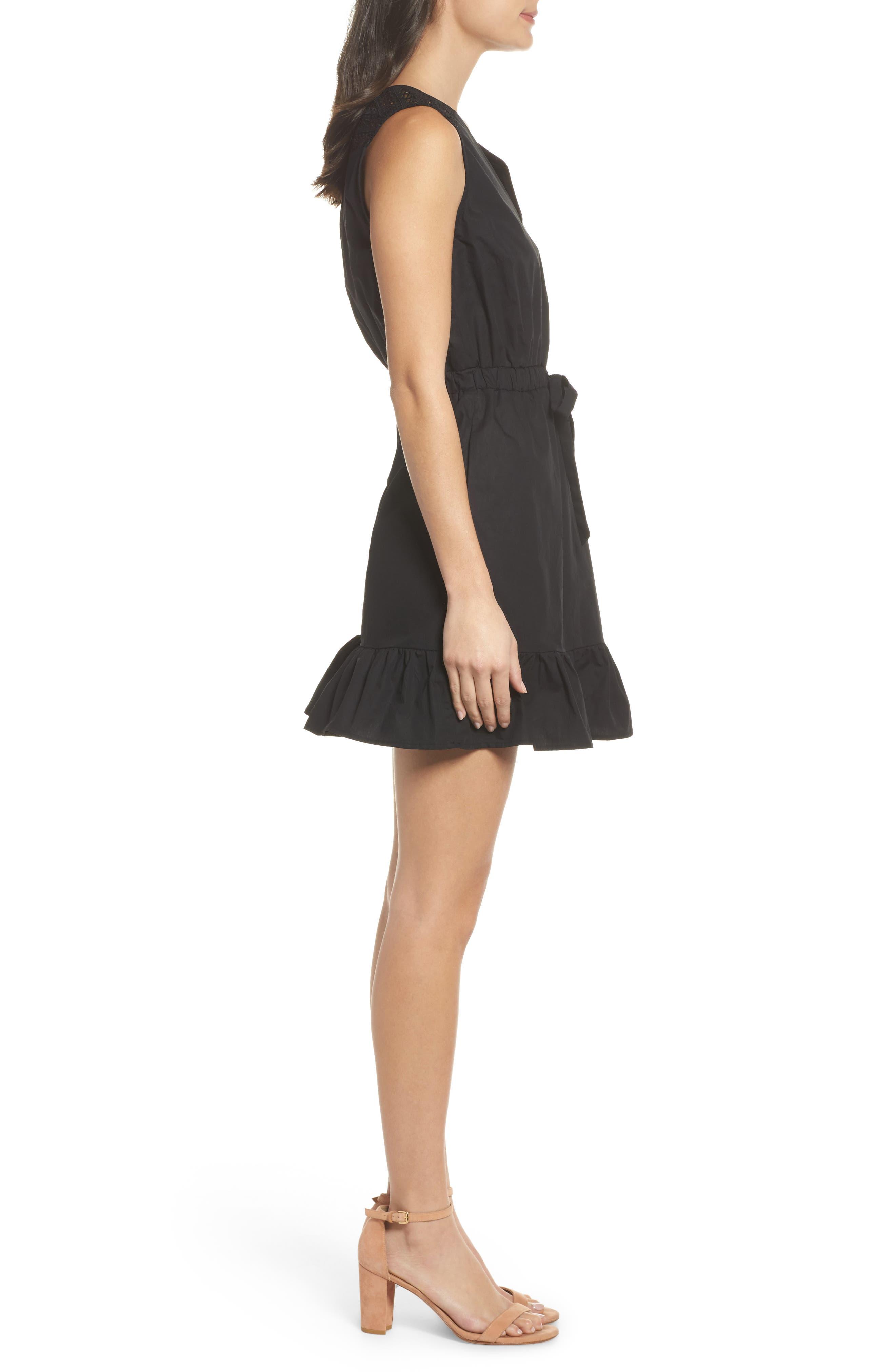 Leah Lace Trim A-Line Dress,                             Alternate thumbnail 3, color,                             001