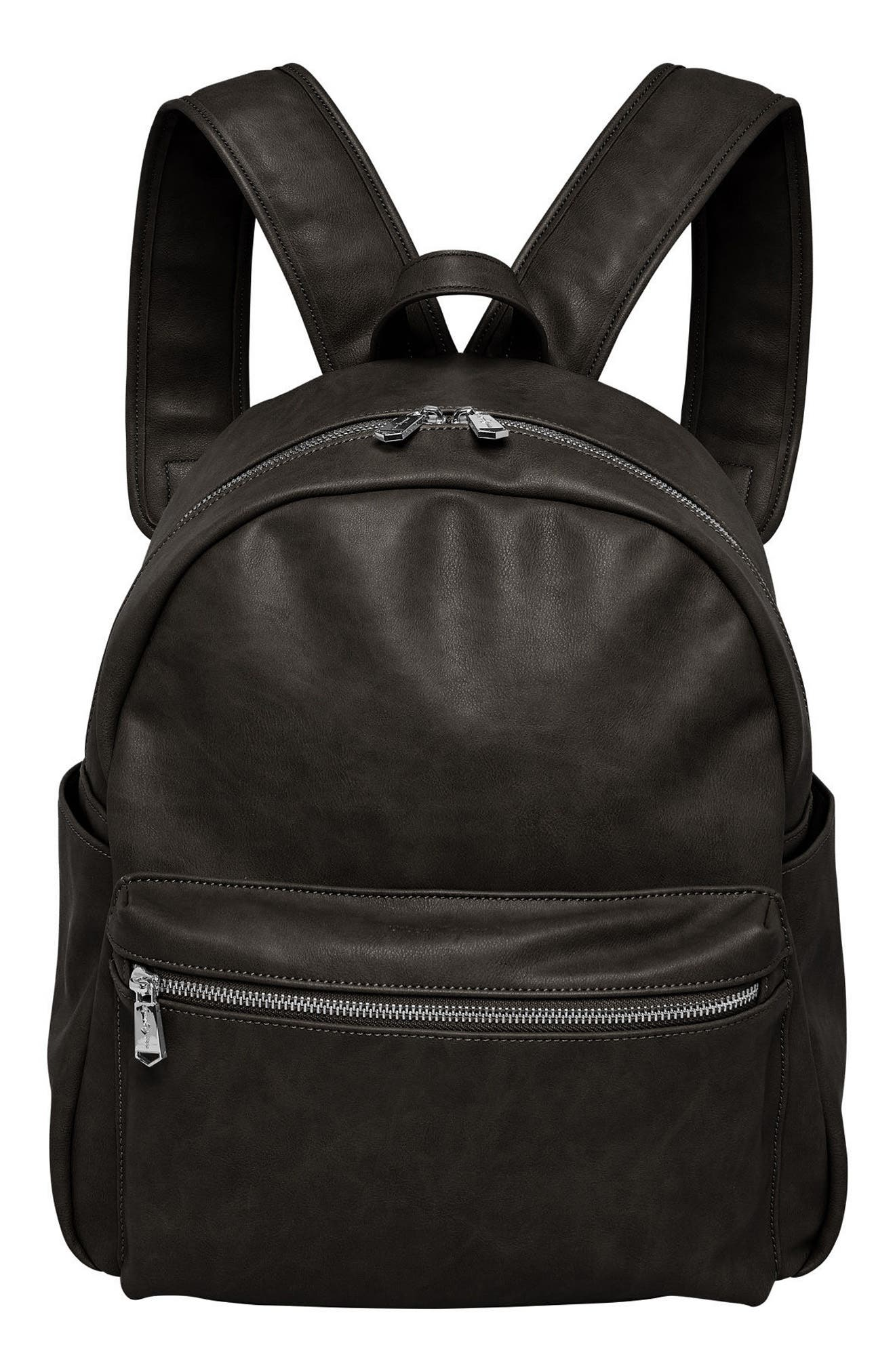 Practical Vegan Leather Backpack,                         Main,                         color, 001