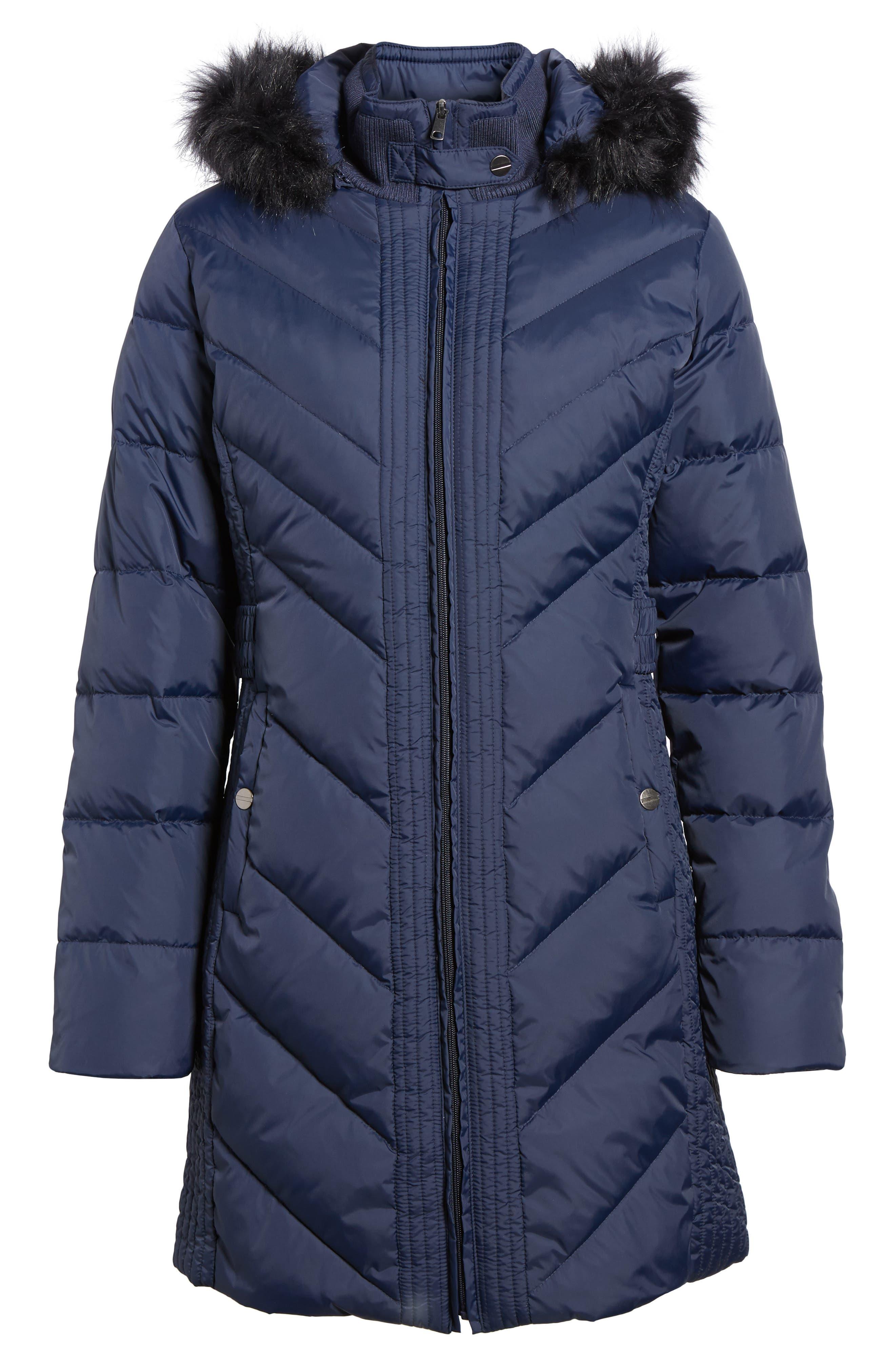 Faux Fur Trim Hooded Jacket,                             Alternate thumbnail 5, color,                             004
