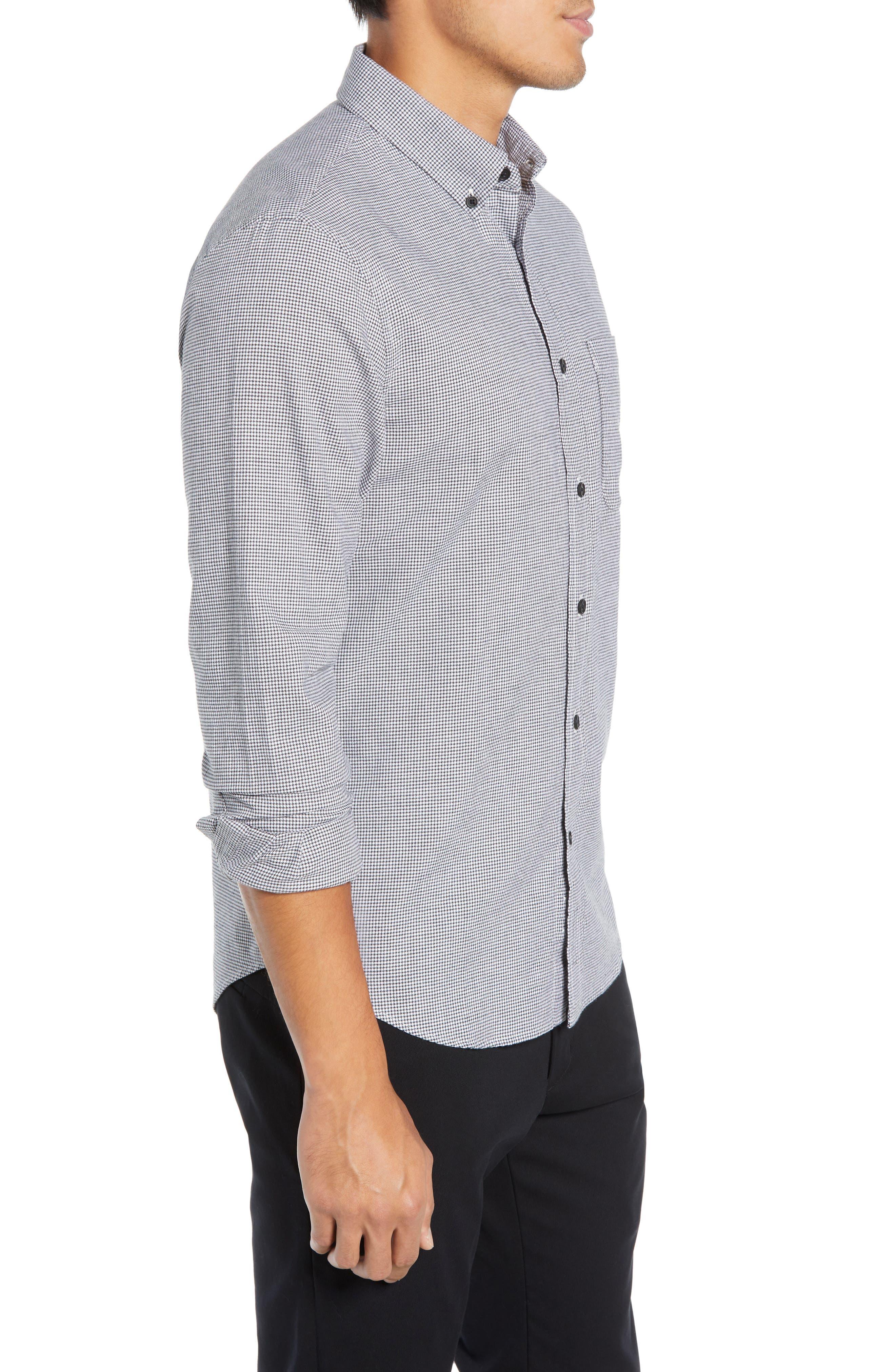 Trim Fit Houndstooth Flannel Sport Shirt,                             Alternate thumbnail 4, color,                             010