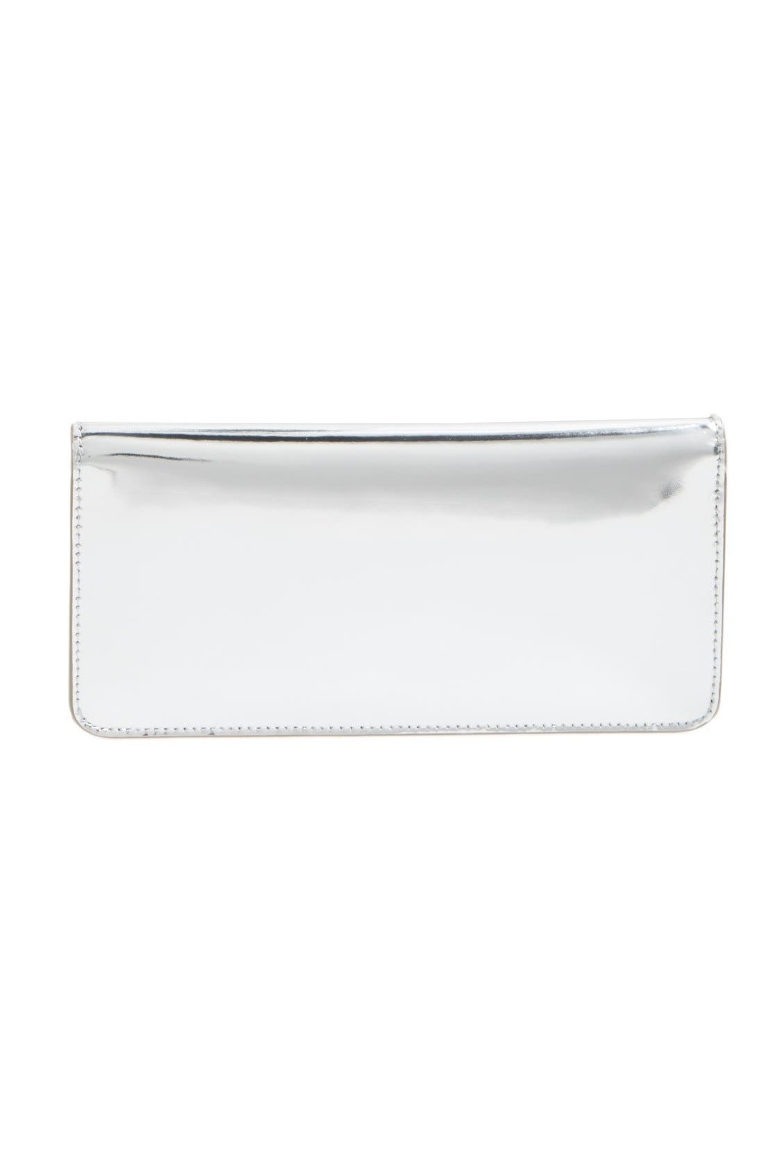 Gigi Metallic Leather Clutch,                             Alternate thumbnail 9, color,                             SILVER LEATHER STANDARD