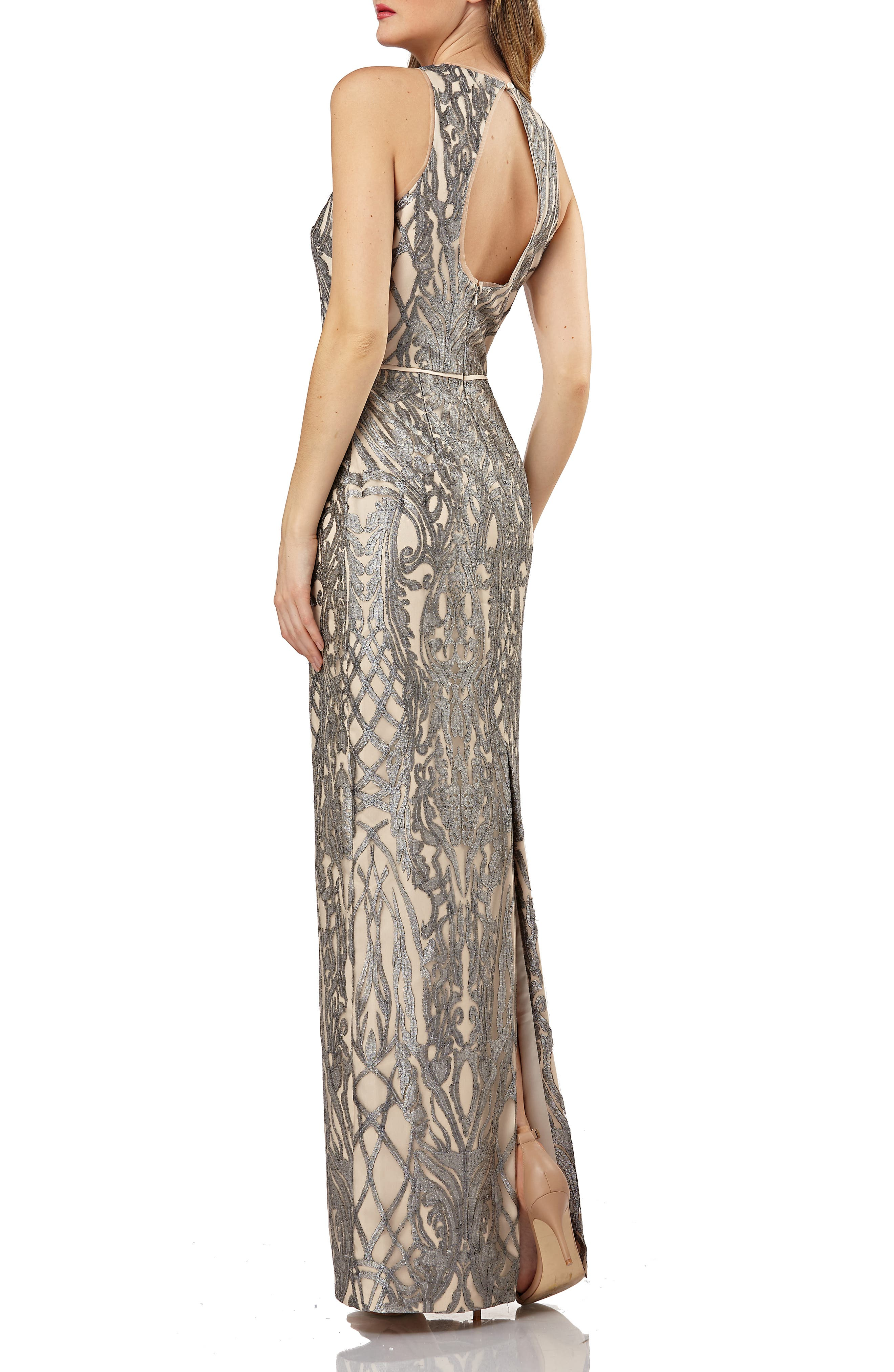 Metallic Embroidered Halter Gown,                             Alternate thumbnail 2, color,                             020