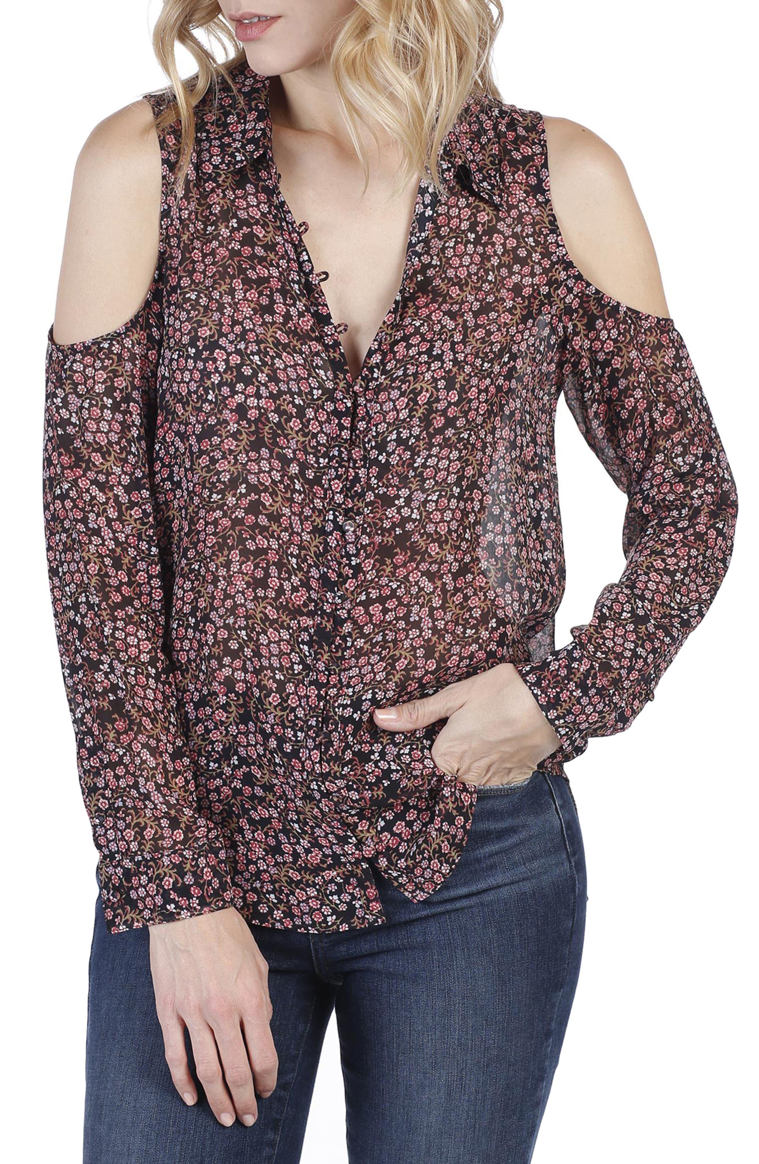 Bellini Cold Shoulder Silk Shirt,                             Main thumbnail 1, color,                             010