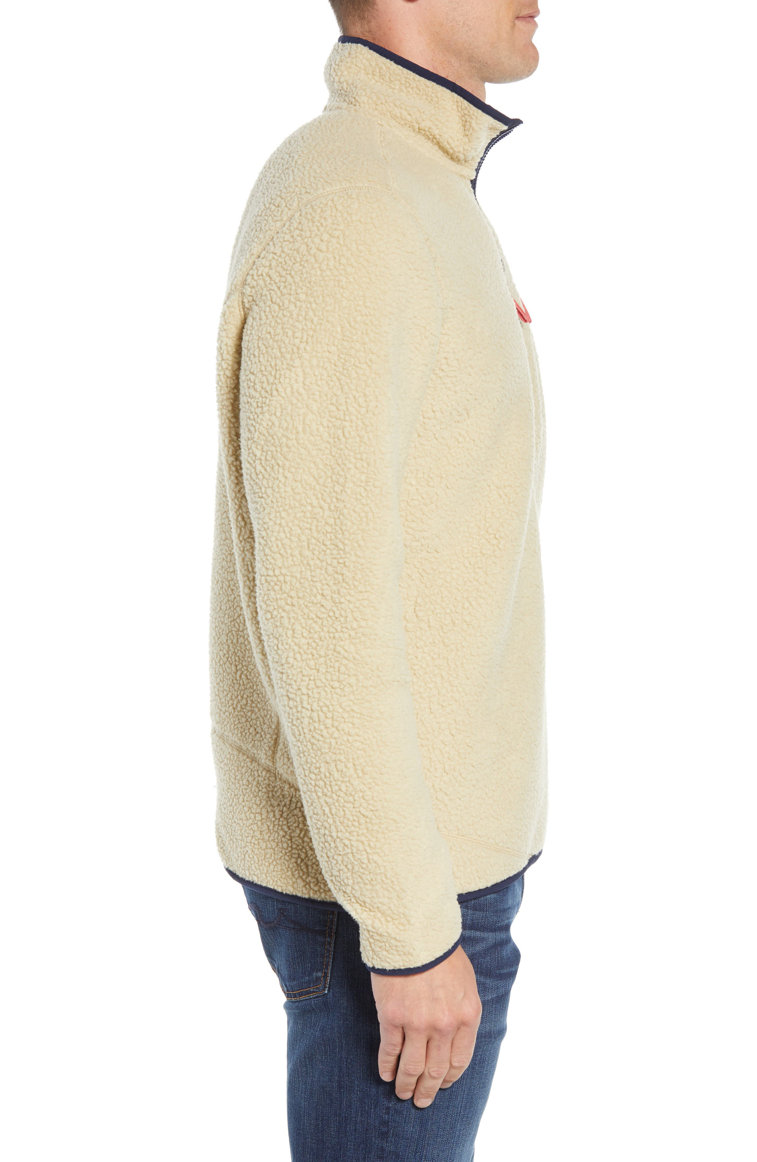 Retro Pile Fleece Zip Jacket,                             Alternate thumbnail 3, color,                             EL CAP KHAKI