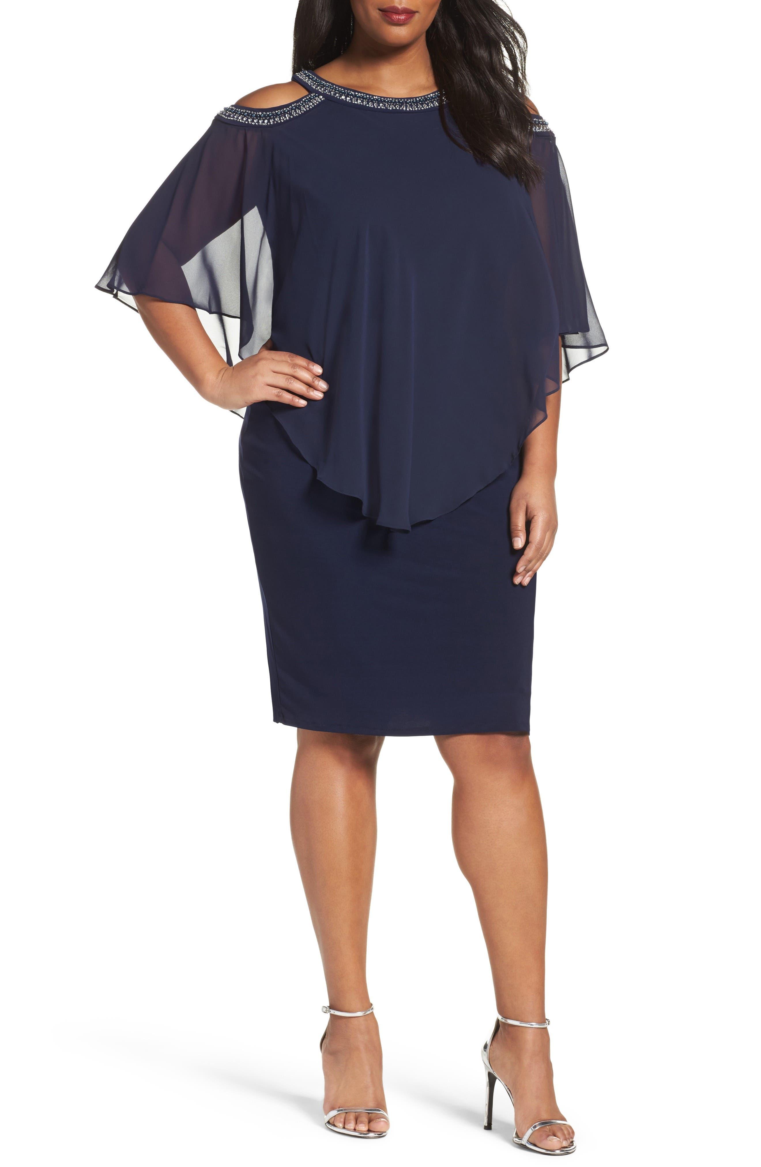 Plus Size Alex Evenings Embellished Cold Shoulder Overlay Cocktail Dress, Blue