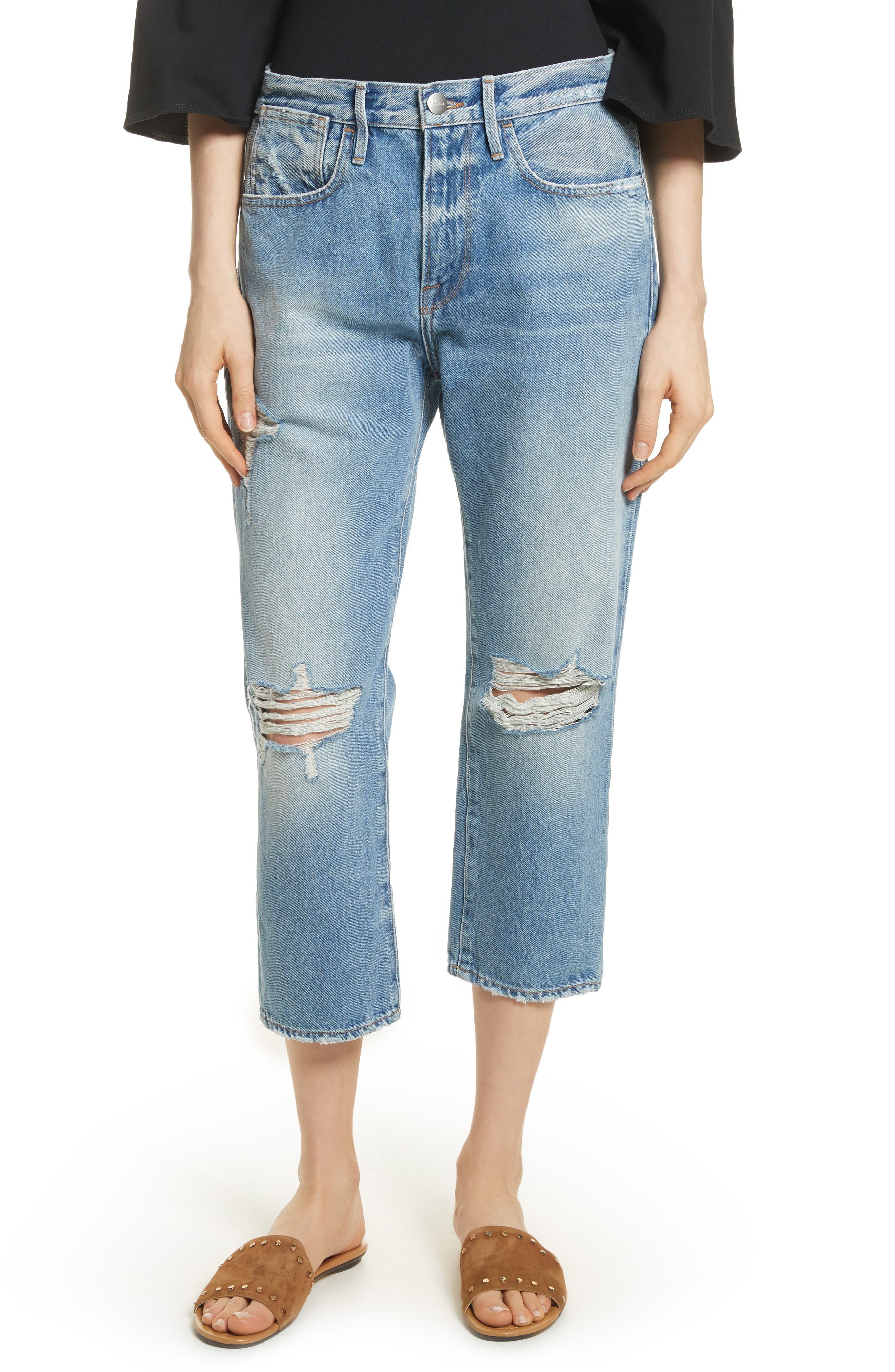 Le Stevie Distressed Crop Jeans,                             Main thumbnail 1, color,                             420