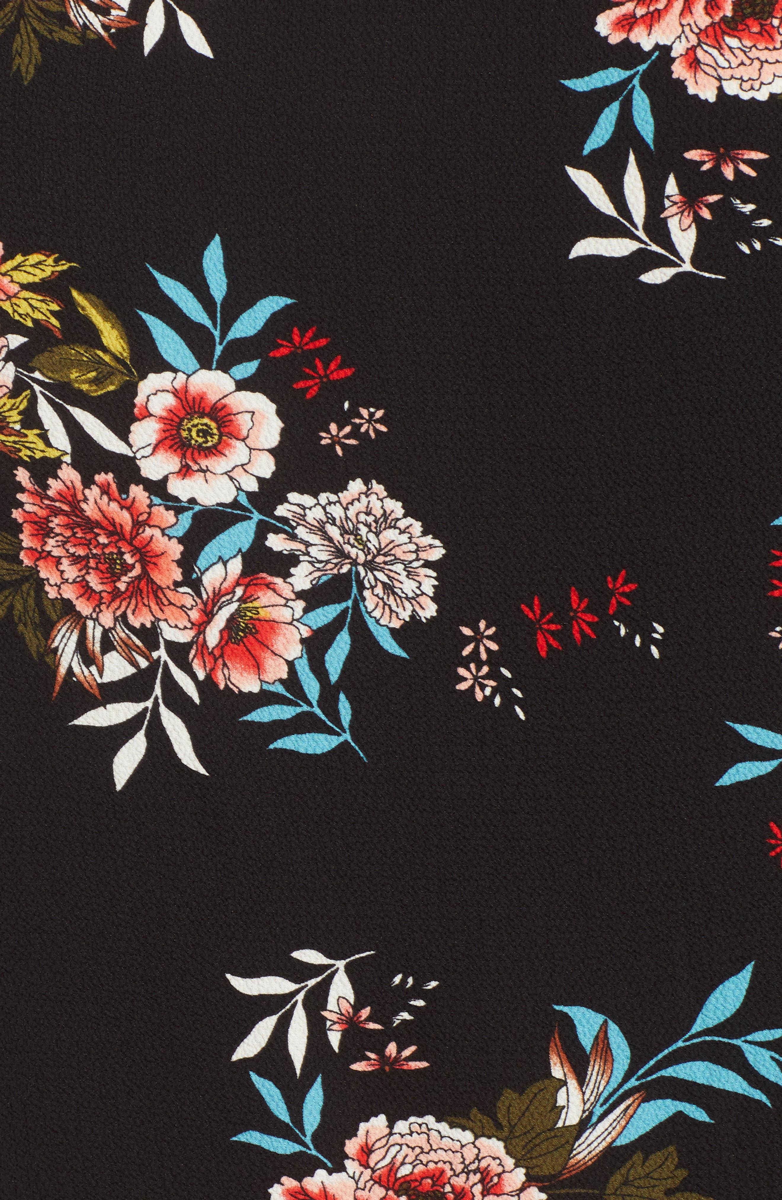 Ruffle Sleeve Print Top,                             Alternate thumbnail 5, color,                             002