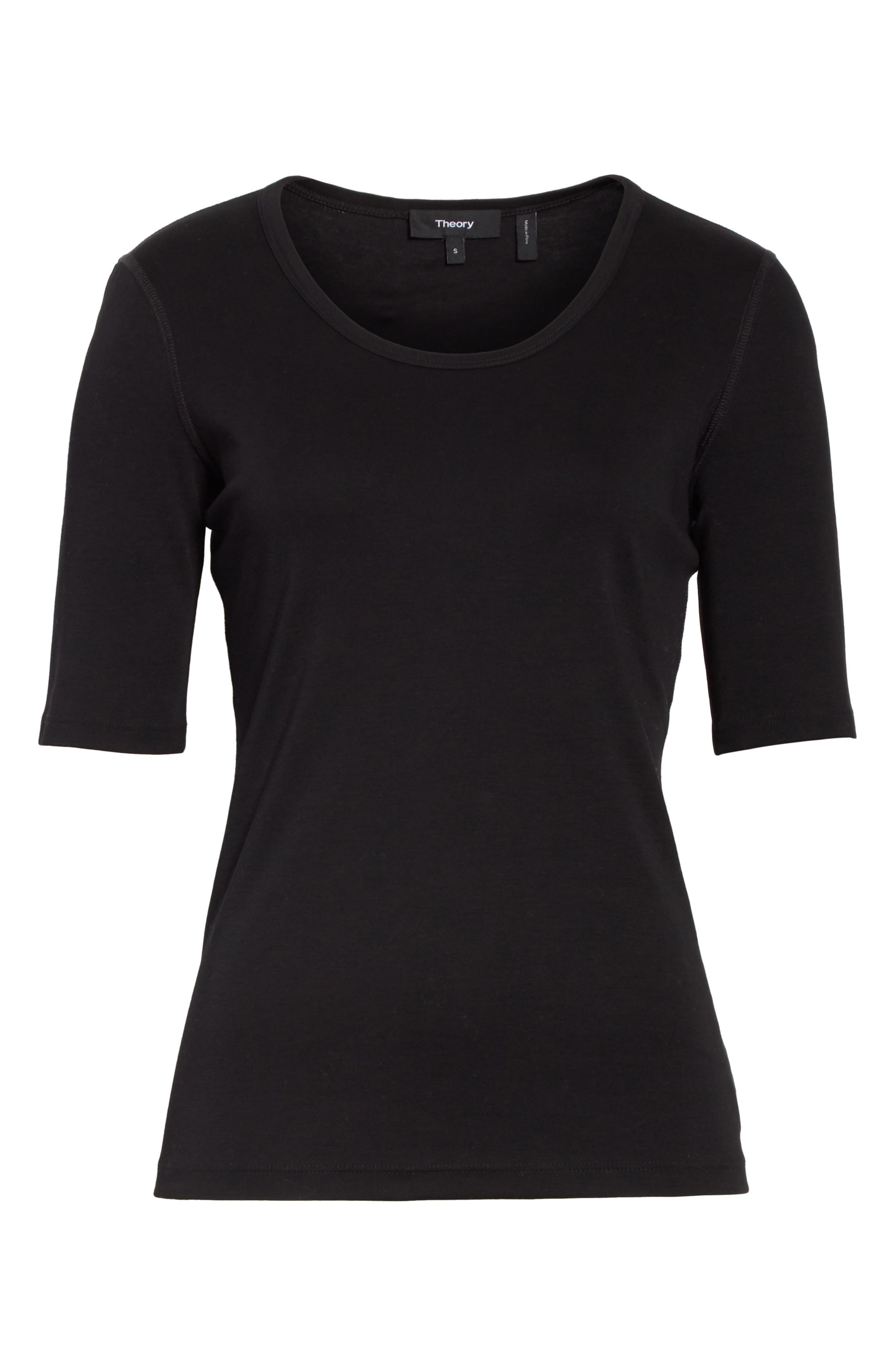 Pima Cotton Top,                             Alternate thumbnail 6, color,                             BLACK