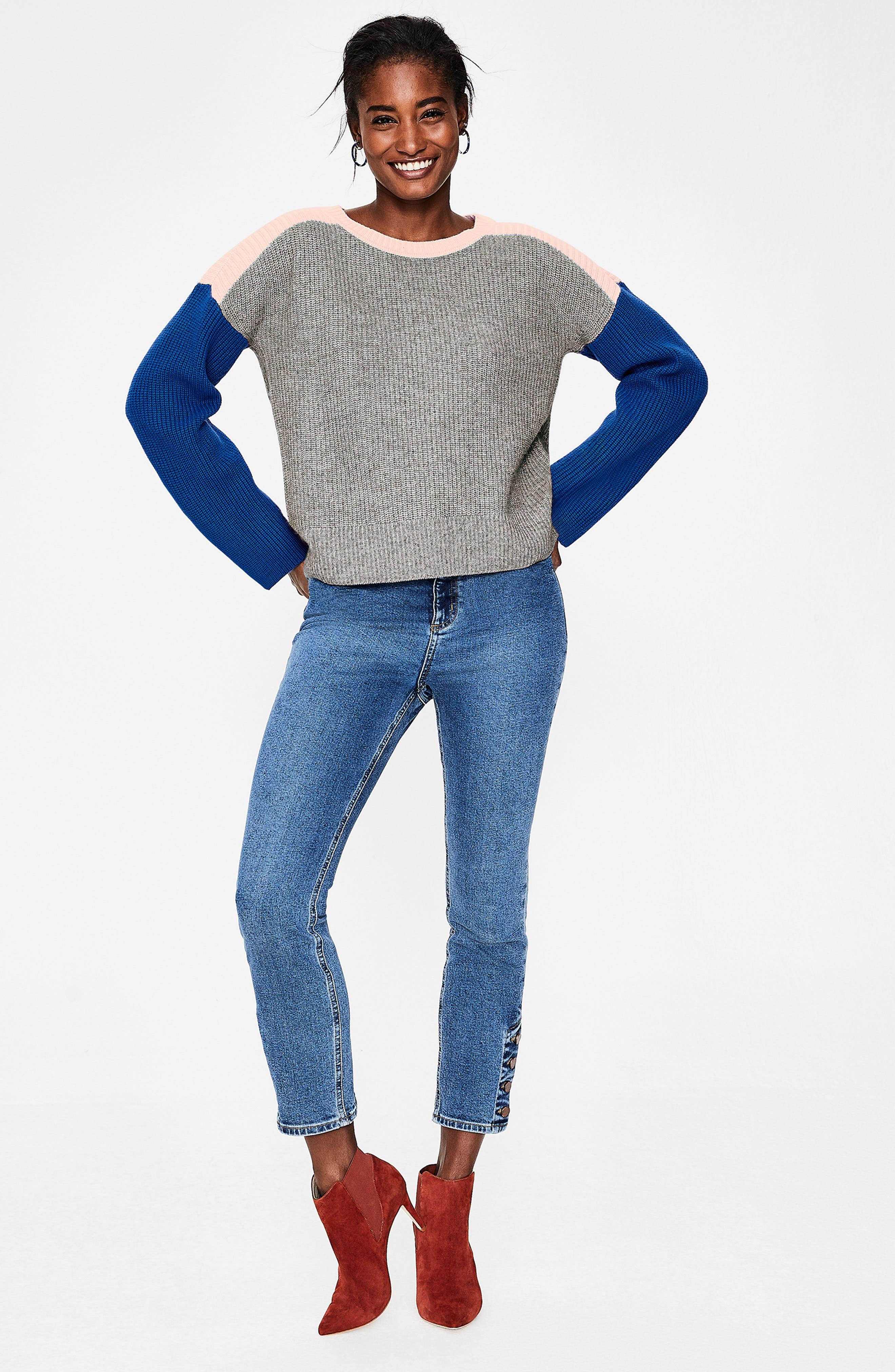 Sophie Colorblock Sweater,                             Alternate thumbnail 6, color,                             GREY MELANGE