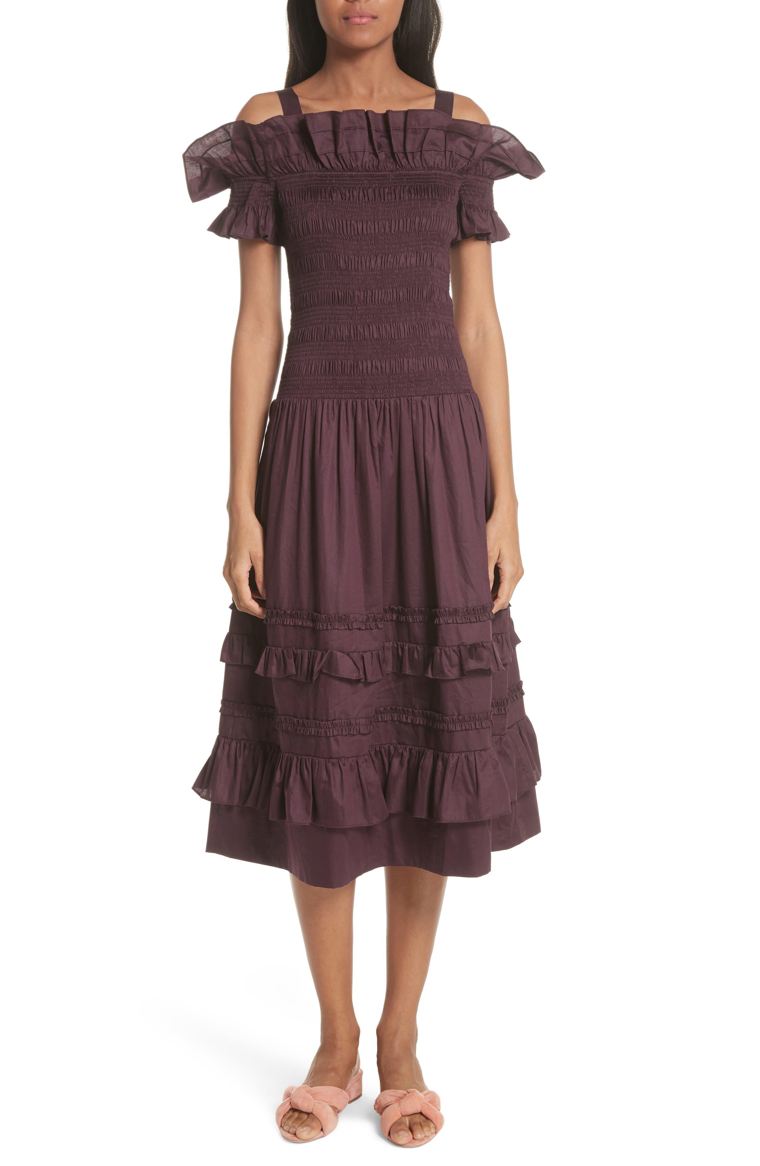 Cold Shoulder Smocked Cotton Dress,                             Main thumbnail 1, color,                             PLUM