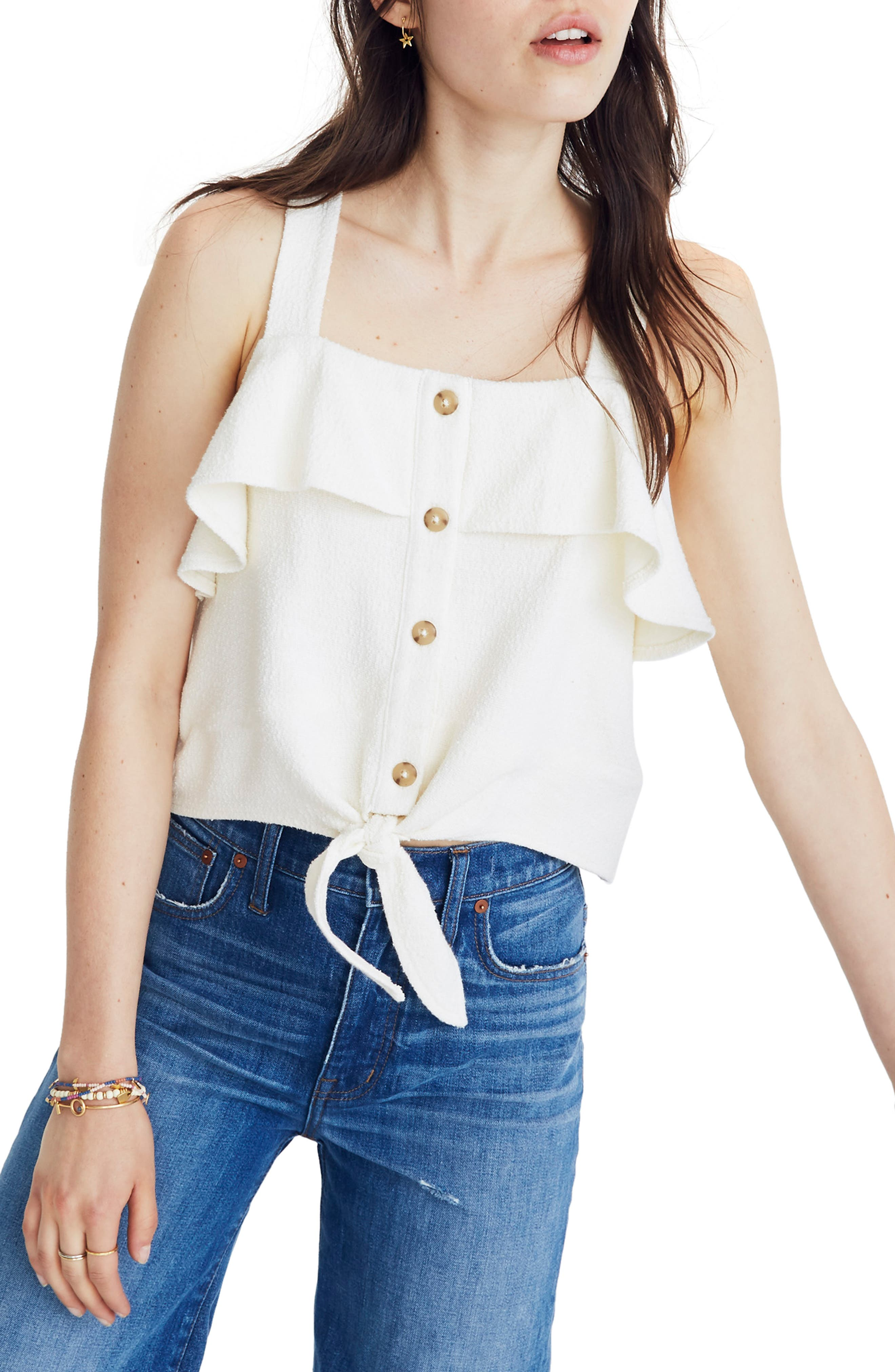 Texture & Thread Ruffle Tie Front Tank,                         Main,                         color,