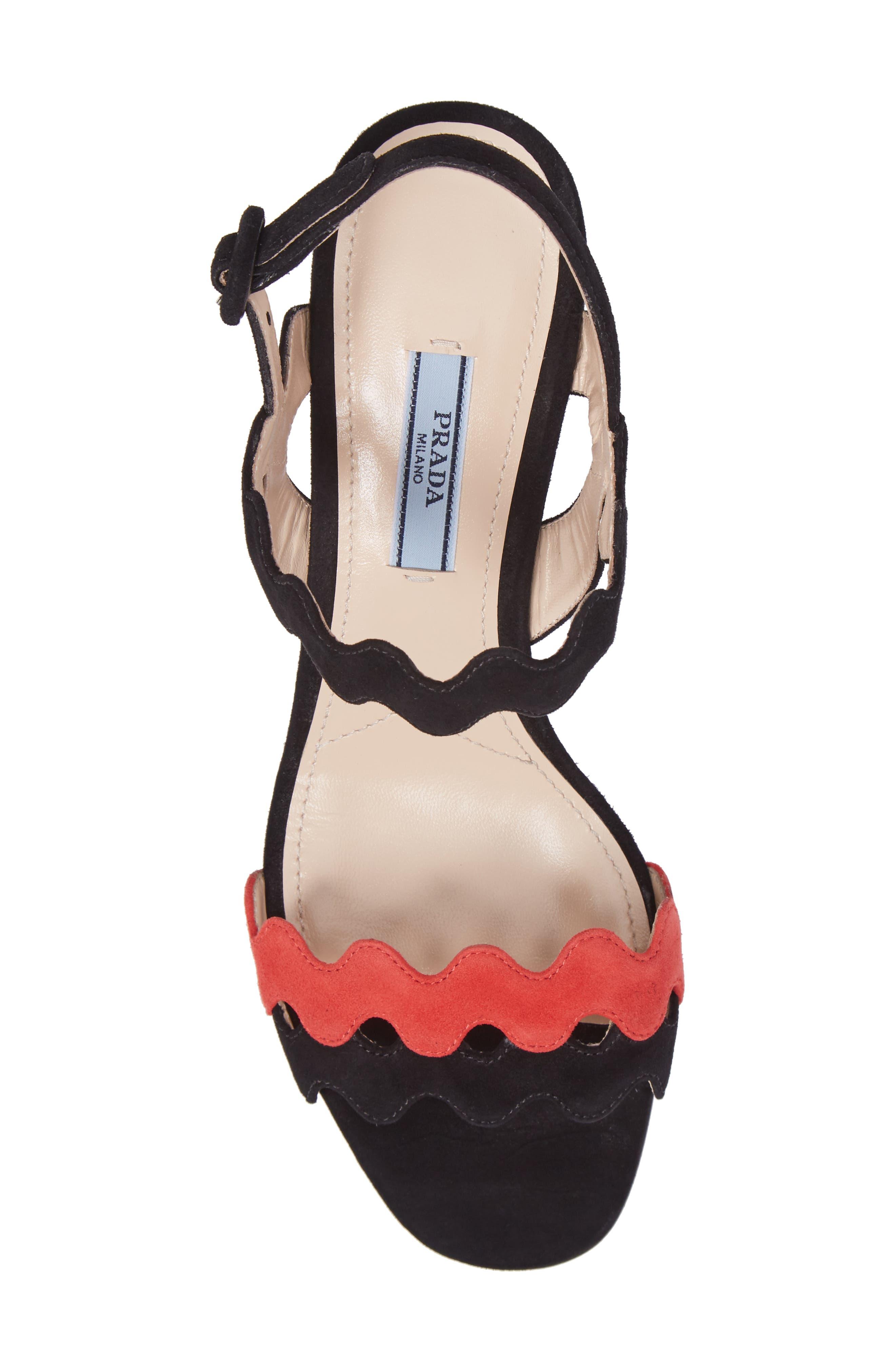 Double Strap Wave Sandal,                             Alternate thumbnail 5, color,                             001