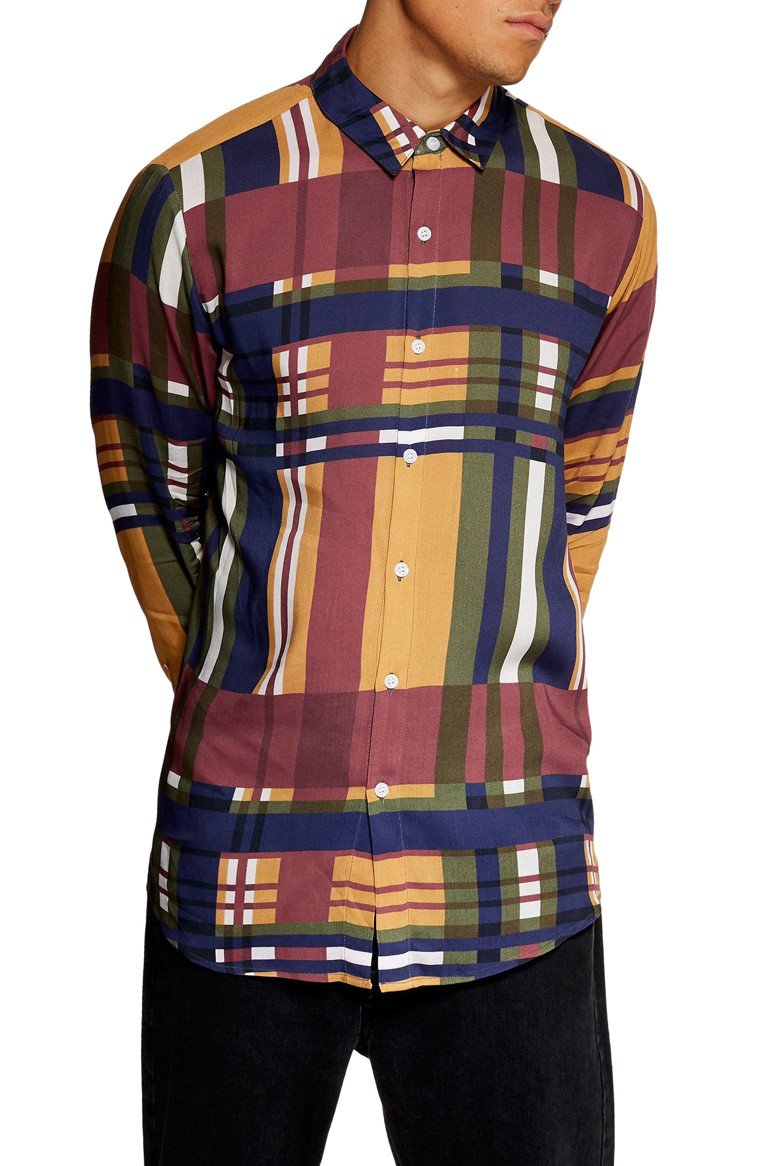 Tapenade Check Shirt,                             Main thumbnail 1, color,                             YELLOW MULTI