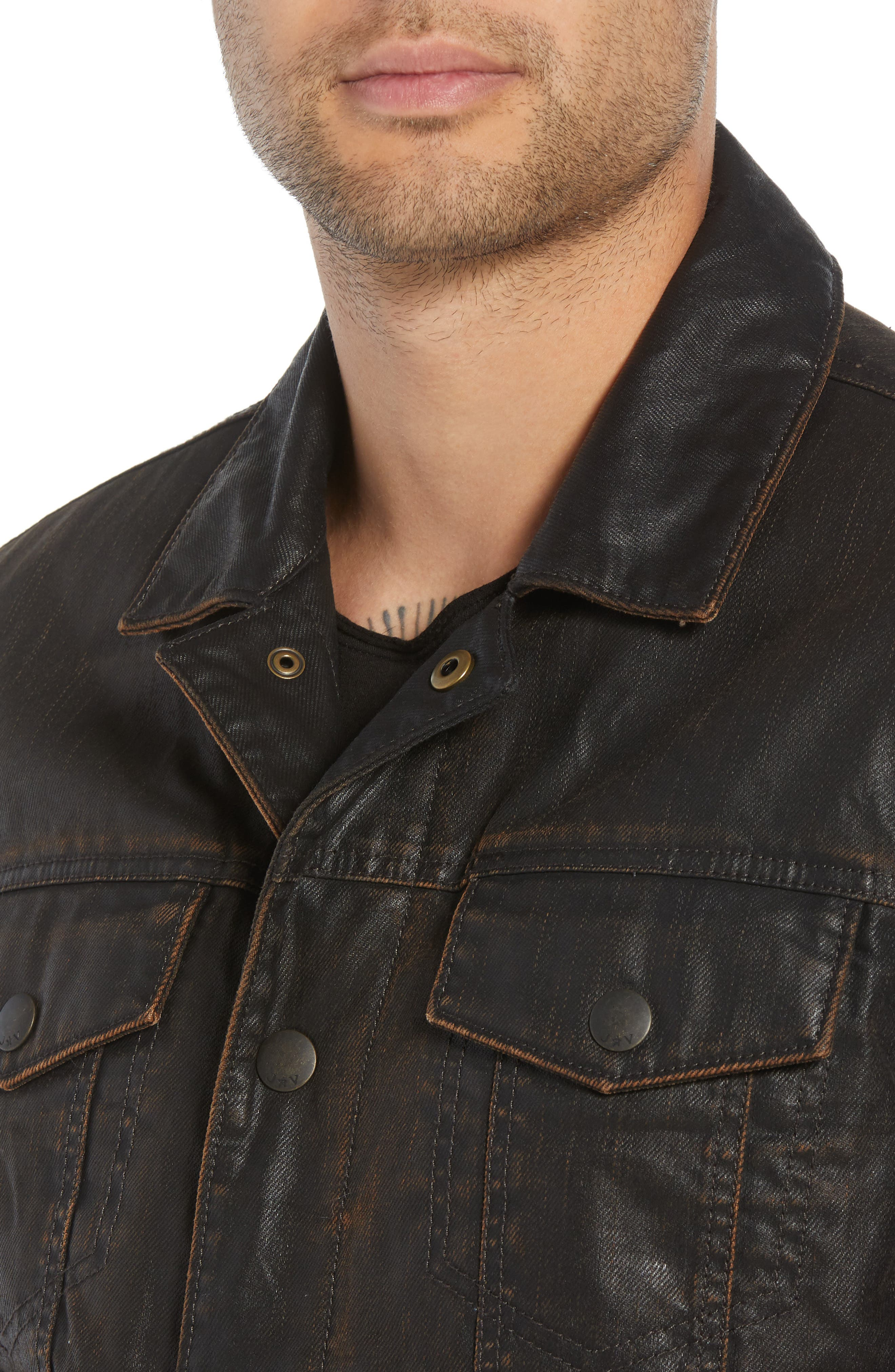 Faux Shearling Lined Coated Trucker Jacket,                             Alternate thumbnail 4, color,                             CHOCOLATE