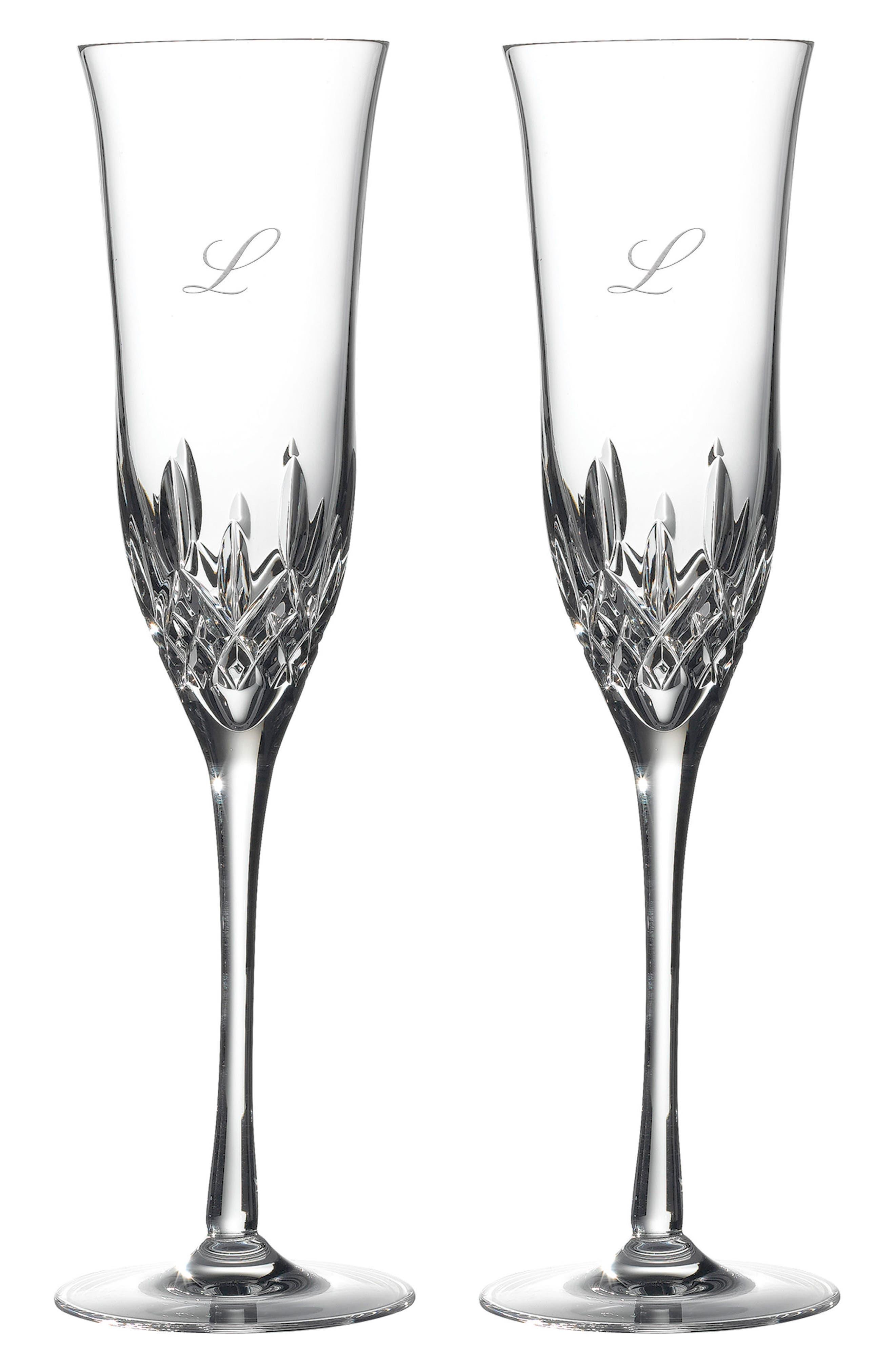 Lismore Essence Set of 2 Monogram Lead Crystal Champagne Flutes,                             Main thumbnail 10, color,
