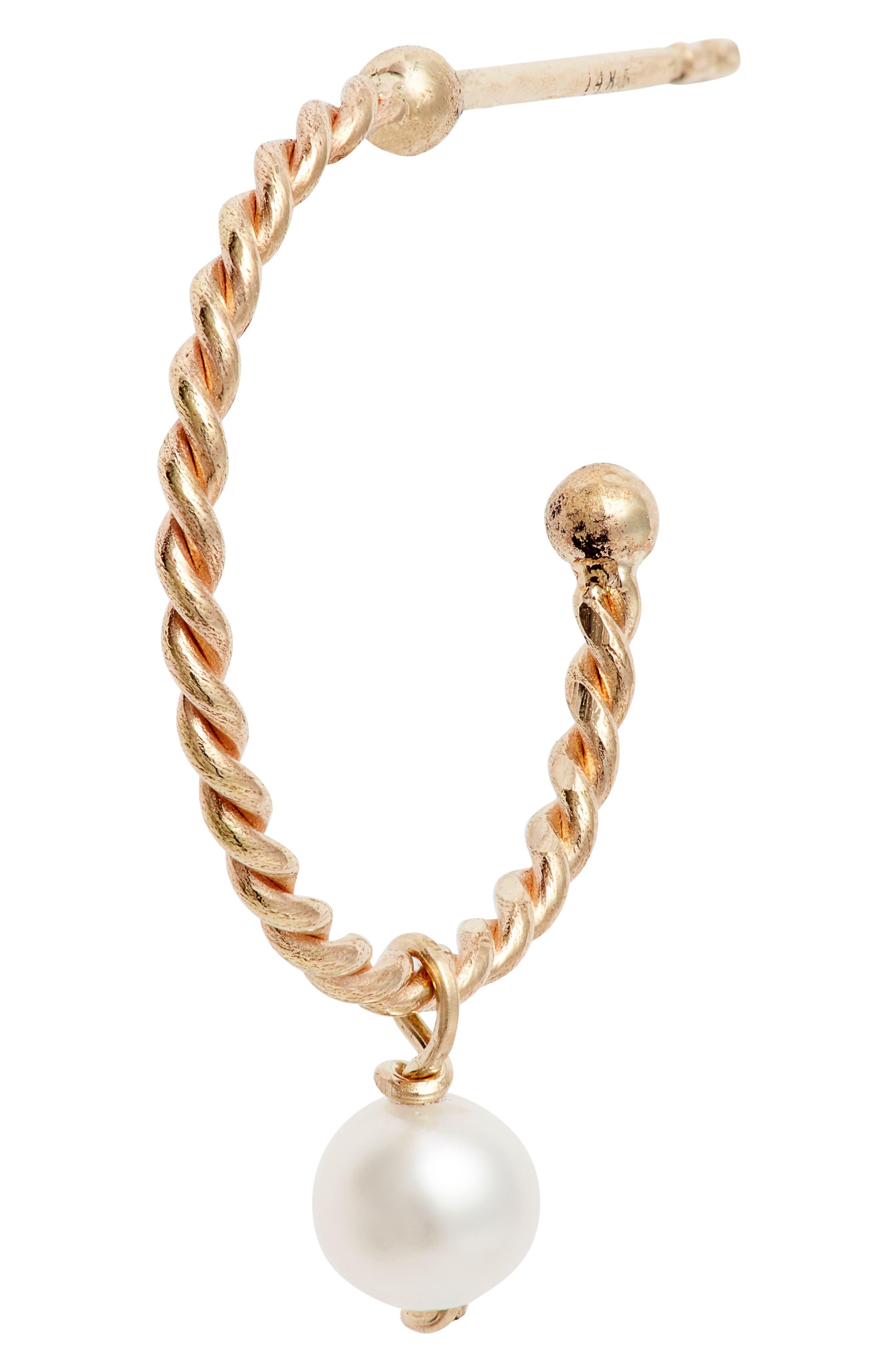 POPPY FINCH,                             Baby Pearl Hoop Earrings,                             Alternate thumbnail 5, color,                             YELLOW GOLD
