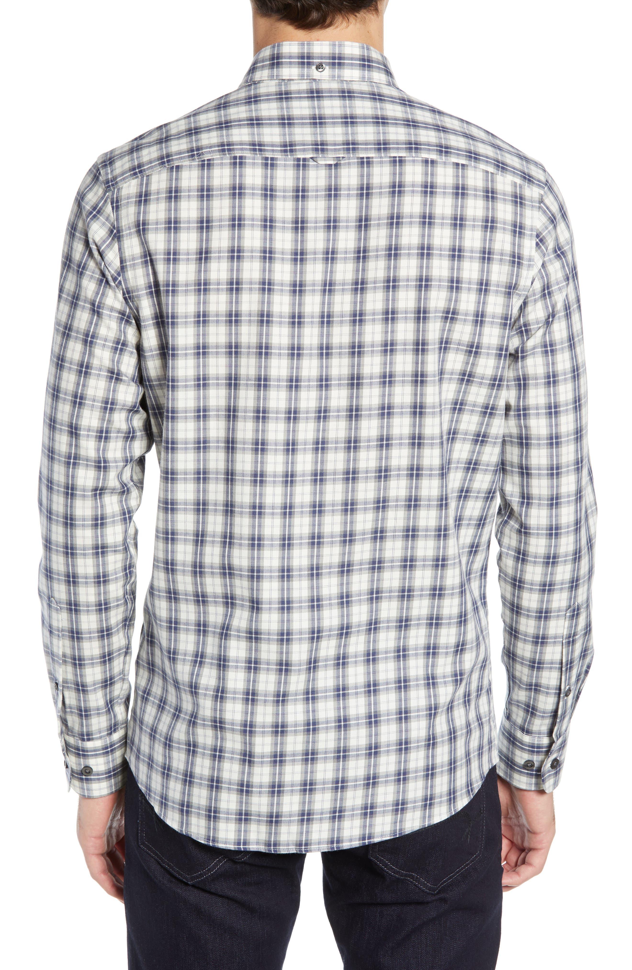 Slim Fit Plaid Sport Shirt,                             Alternate thumbnail 3, color,                             WHITE BLUE ENSIGN GREY PLAID