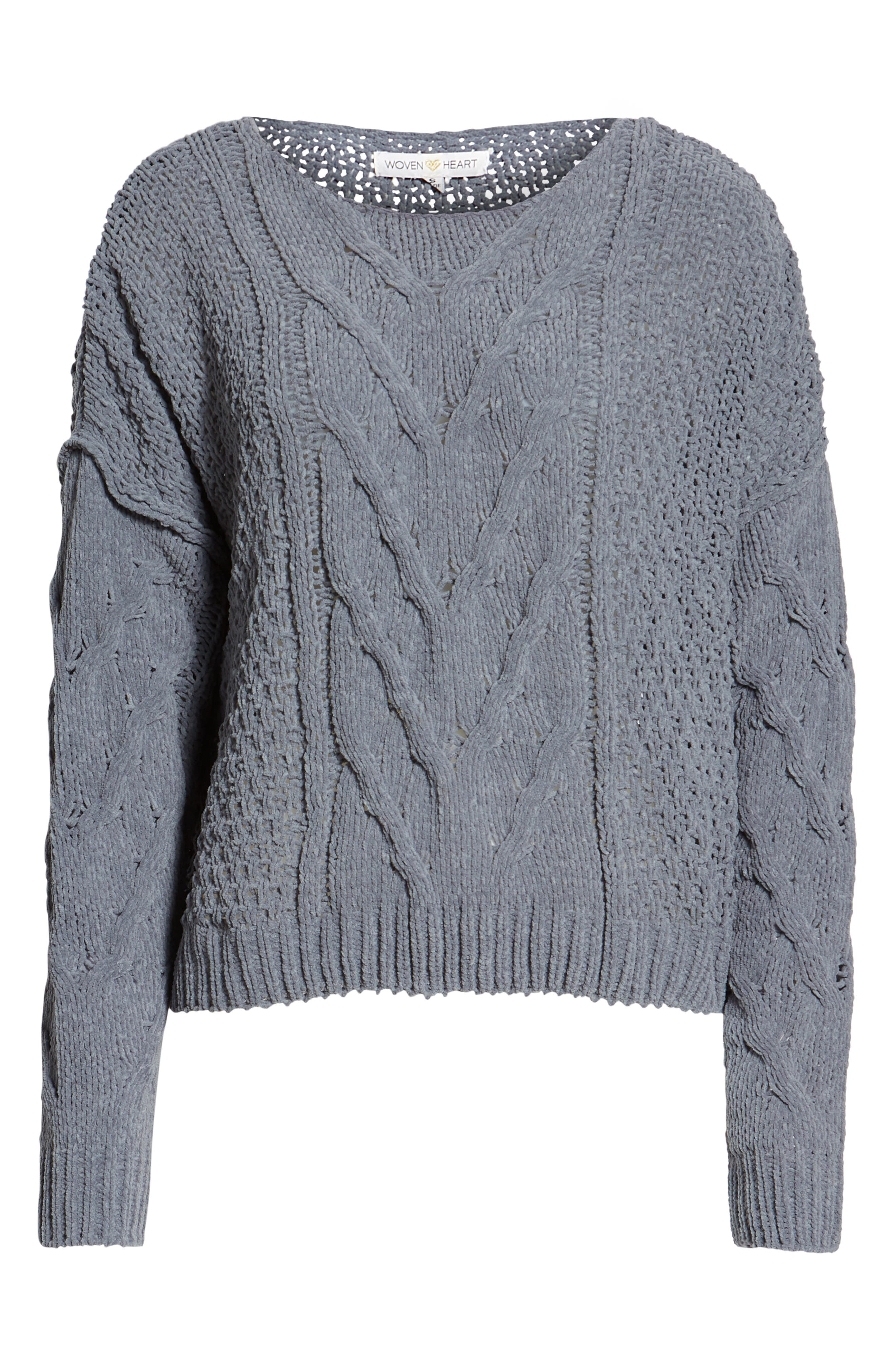 Cable Knit Sweater,                             Alternate thumbnail 6, color,                             GREY