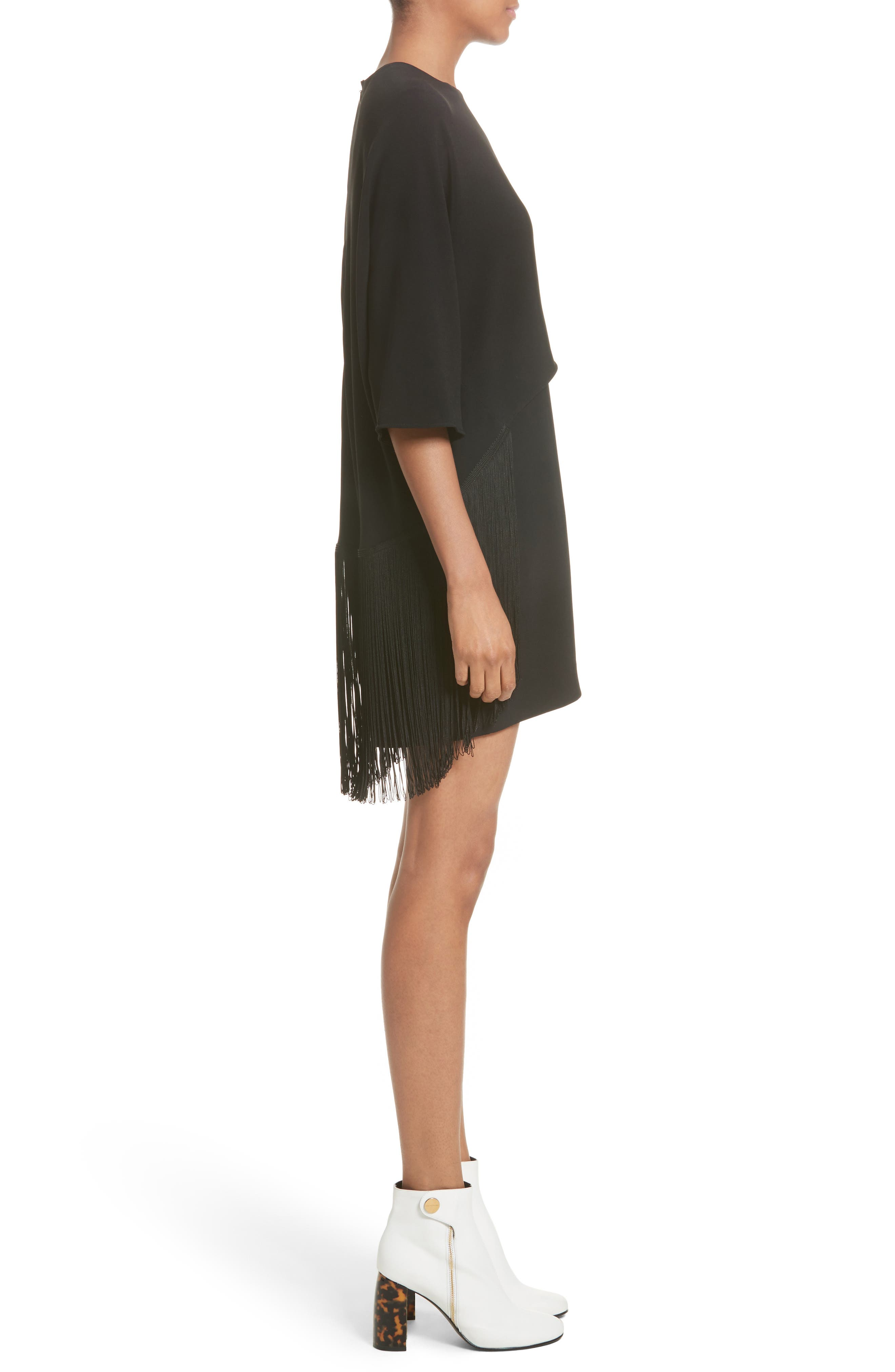 Fringe Overlay Stretch Cady Dress,                             Alternate thumbnail 3, color,