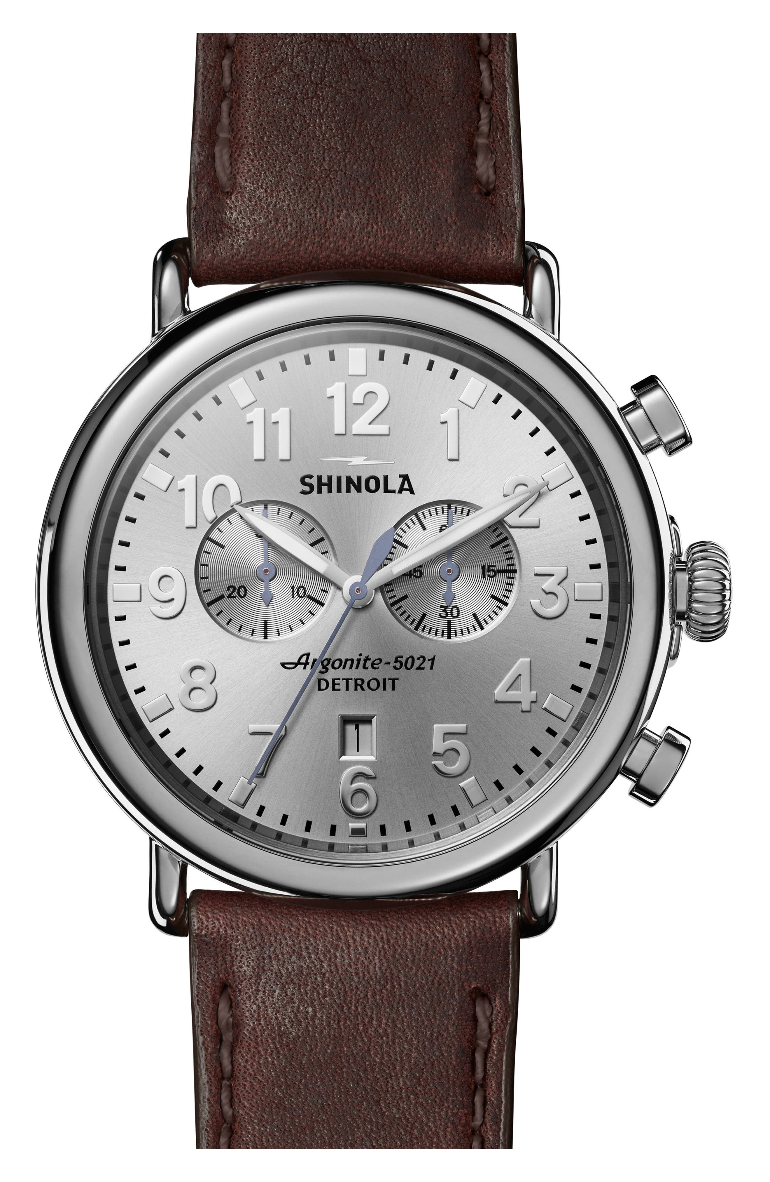 The Runwell Chrono Leather Strap Watch, 47mm,                             Main thumbnail 1, color,                             BROWN/ SILVER