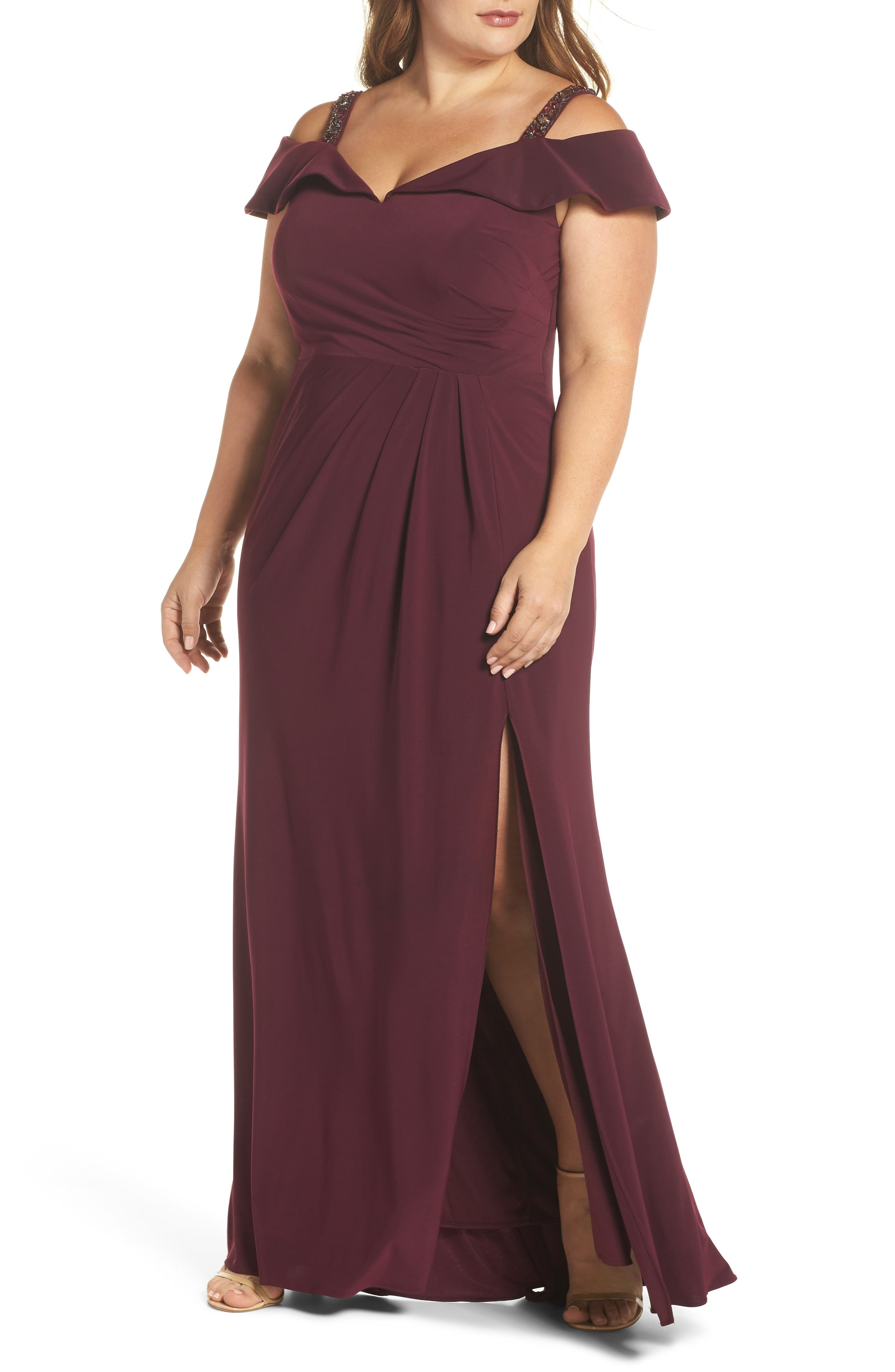 Embellished Off the Shoulder Knit Gown,                             Main thumbnail 1, color,                             WINE