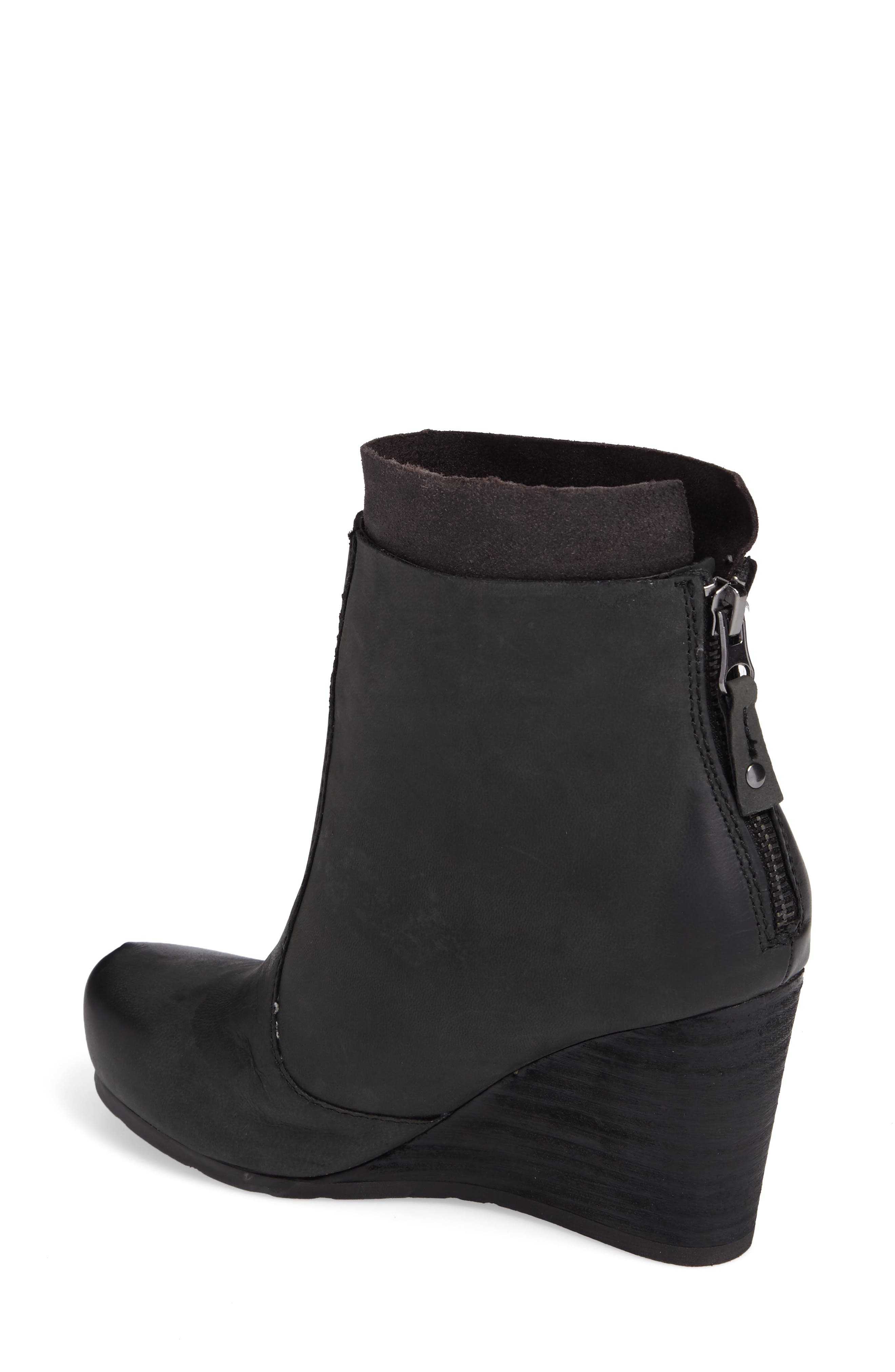 Vagary Wedge Bootie,                             Alternate thumbnail 2, color,                             BLACK LEATHER