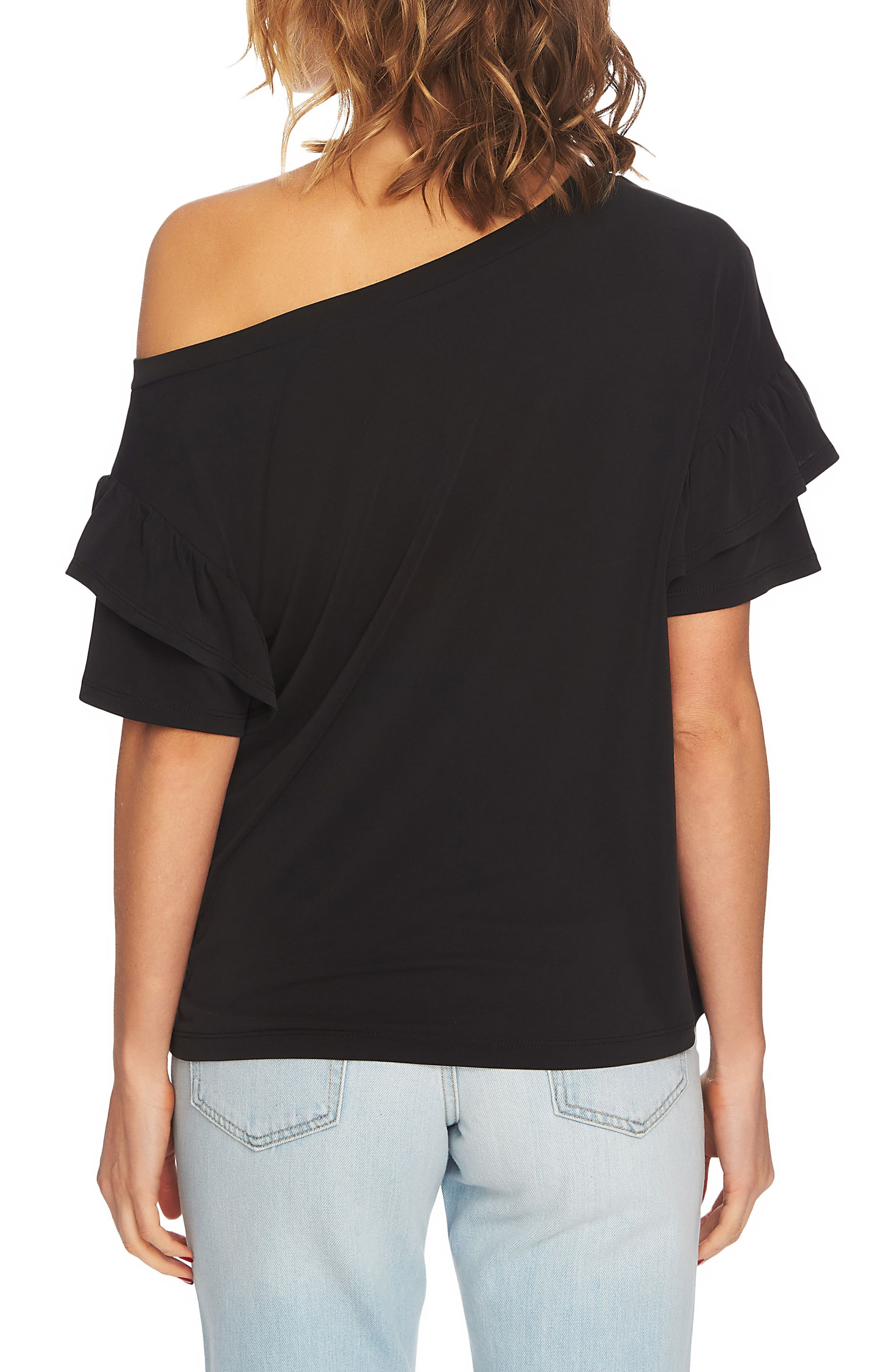 Ruffle Sleeve One-Shoulder Tee,                             Alternate thumbnail 2, color,                             006